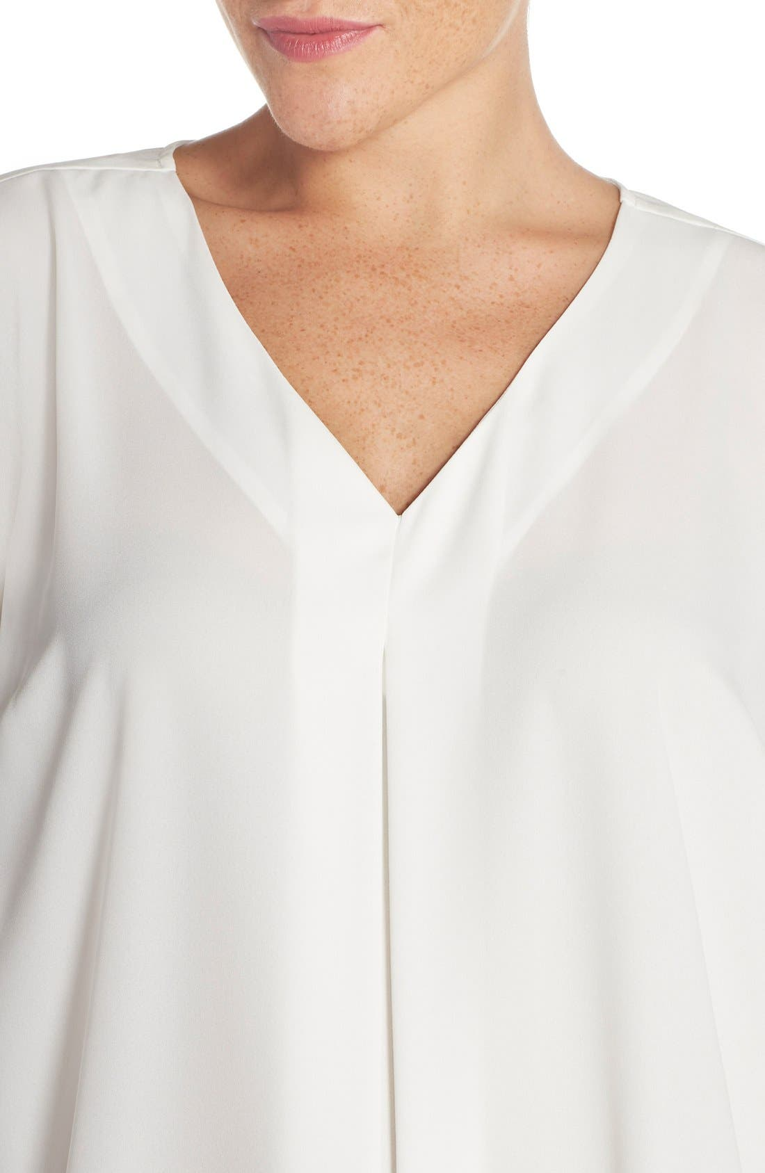 Alternate Image 4  - Vince Camuto Pleat Front V-Neck Blouse (Plus Size)