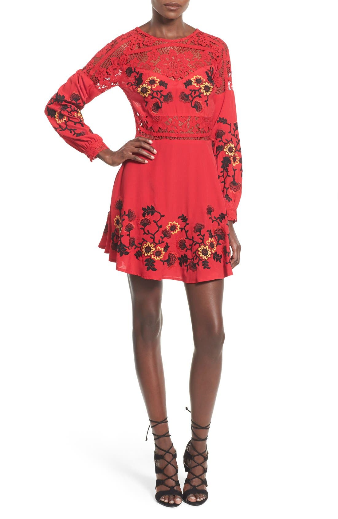 'Isabella' Fit & Flare Dress,                             Main thumbnail 1, color,                             Hot Red