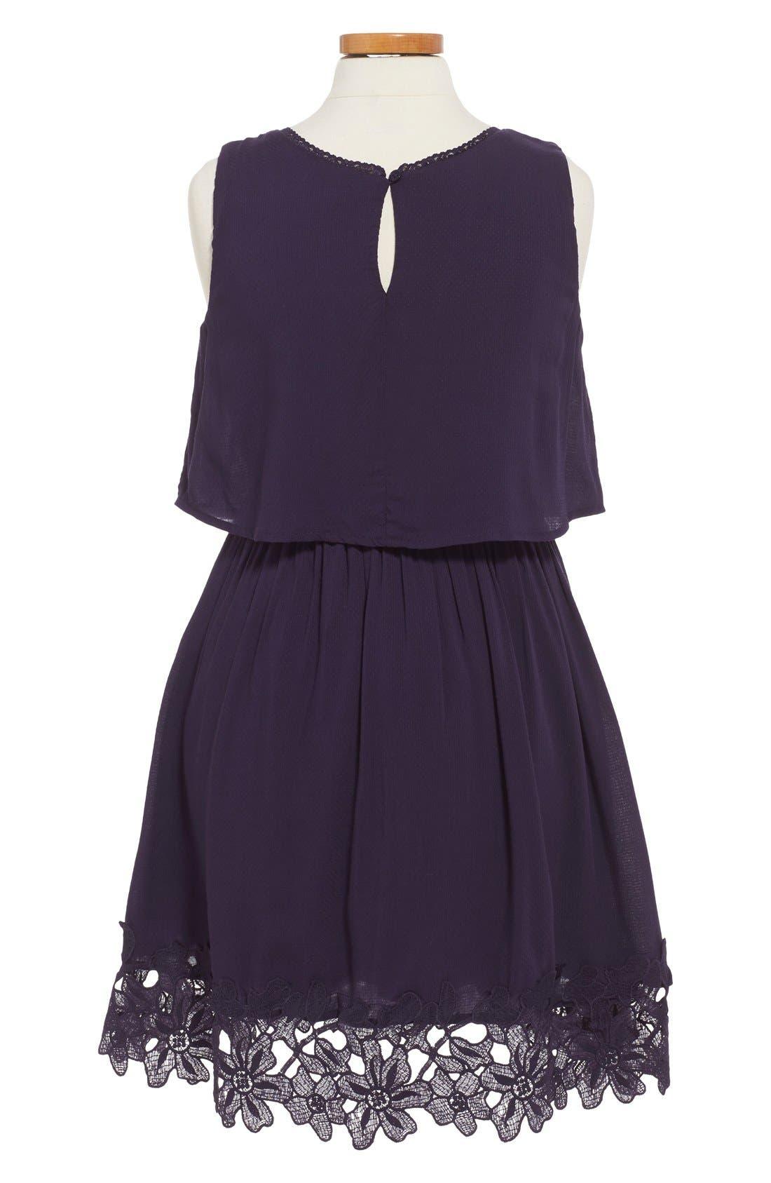 'Kali' Sleeveless Popover Dress,                             Alternate thumbnail 2, color,                             Navy