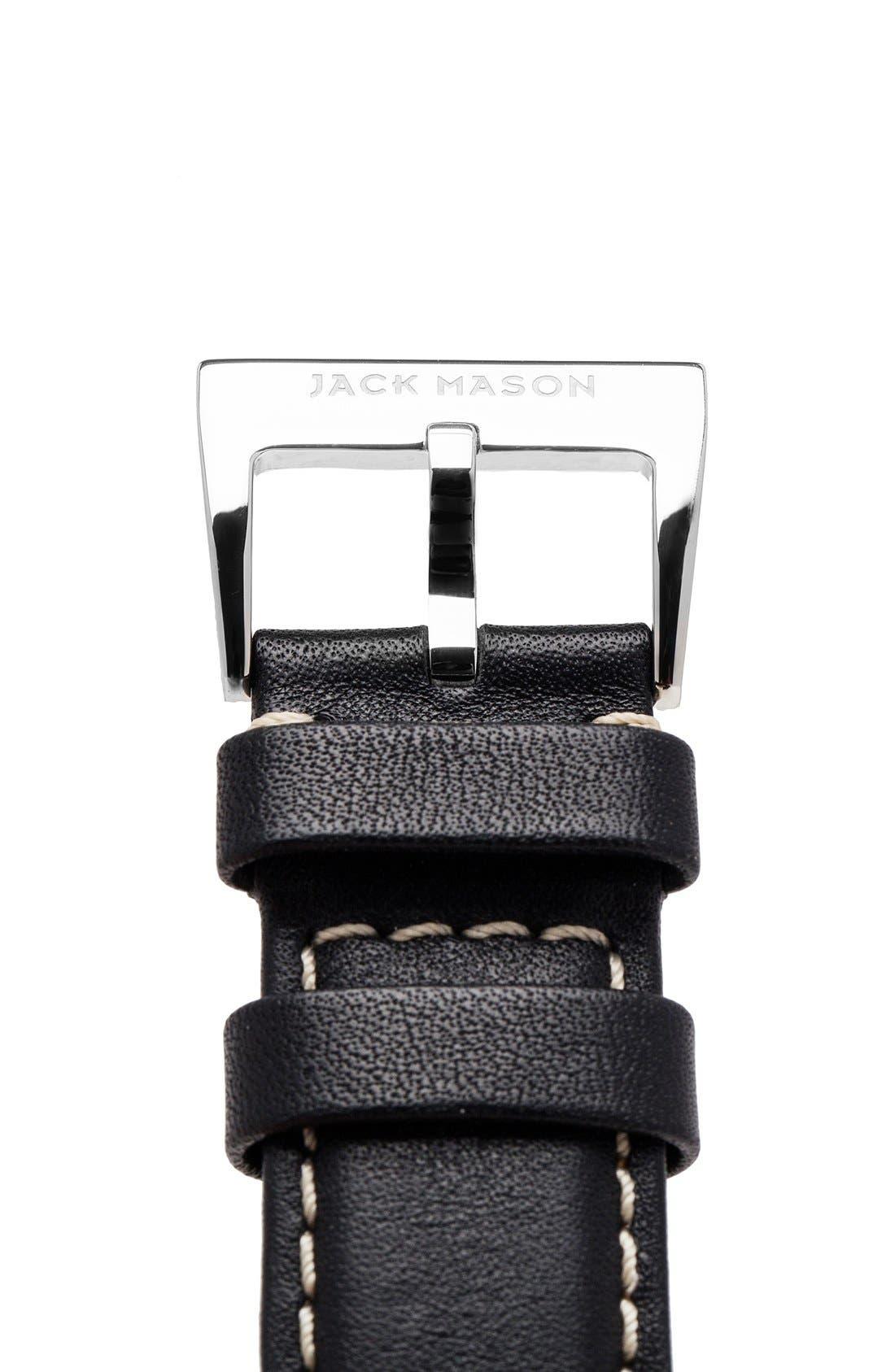 Leather Strap, 22mm,                             Alternate thumbnail 3, color,                             Black
