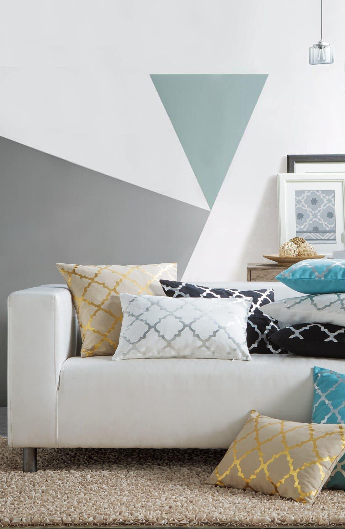 'Holly' Metallic Lattice Pillow,                             Alternate thumbnail 2, color,