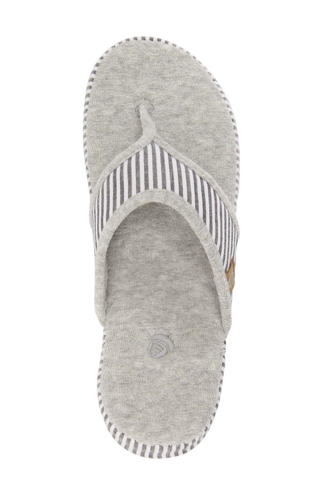 'Summerweight' Slipper,                             Alternate thumbnail 3, color,                             Grey Strip Fabric