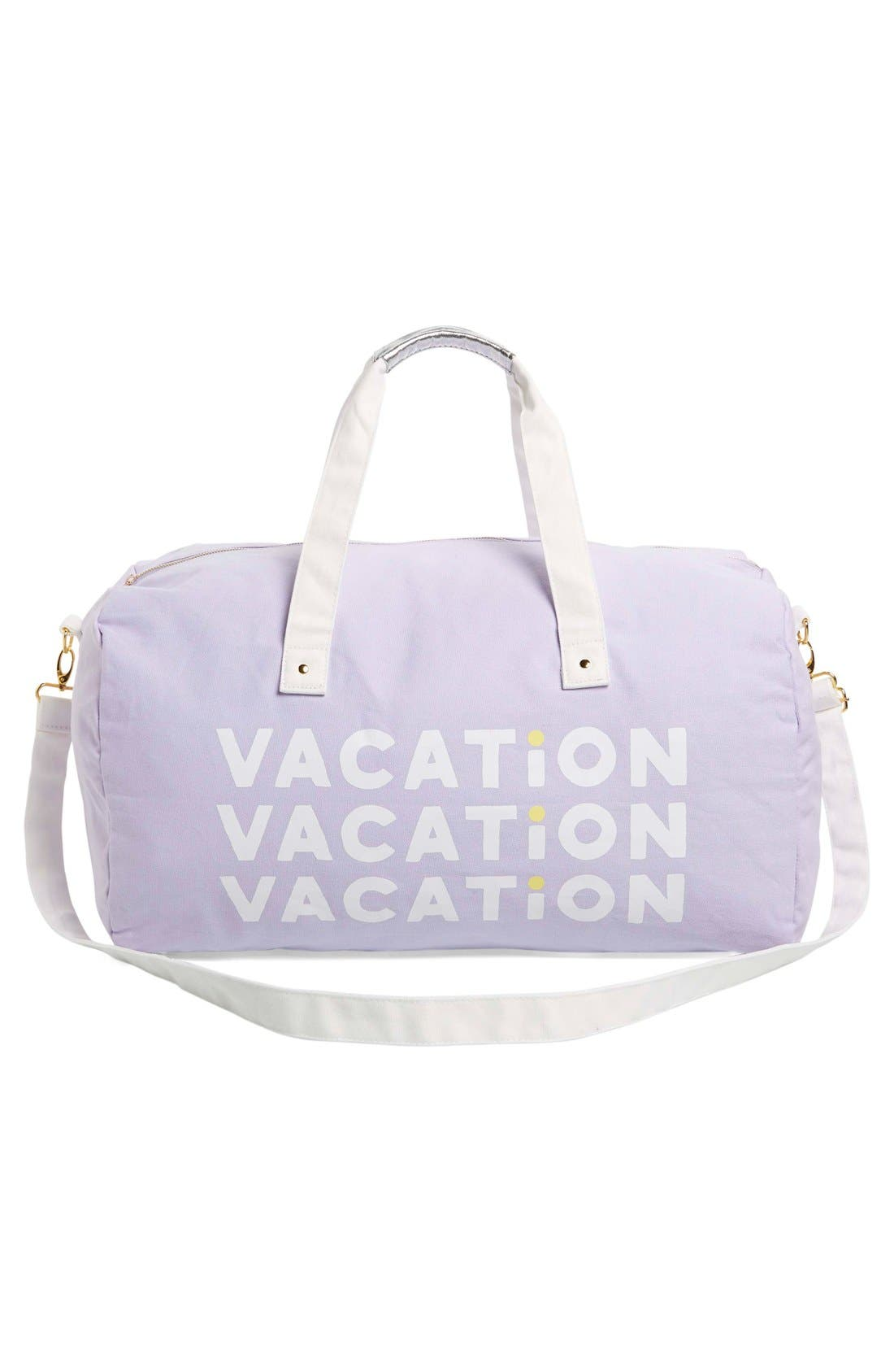 'Vacation Vacation Vacation' Canvas Duffel,                             Alternate thumbnail 3, color,                             Purple
