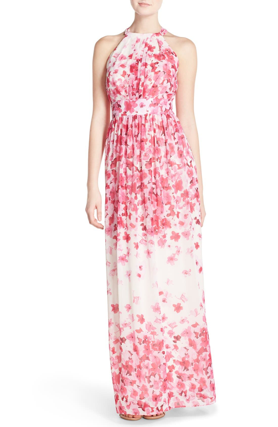 Print Pleated Chiffon Maxi Dress,                         Main,                         color, Pink/ Ivory