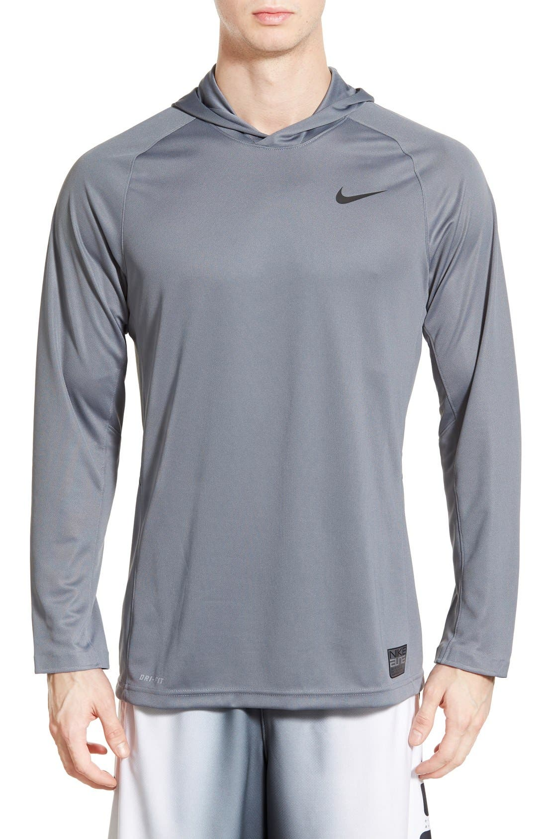 Main Image - Nike 'Elite Shooter - Dri-FIT' Long Sleeve Hooded Basketball Shirt