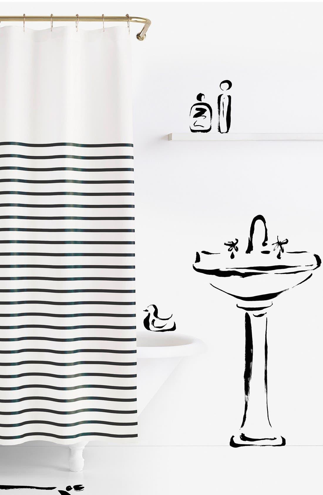 'harbour stripe' shower curtain,                             Main thumbnail 1, color,                             Black