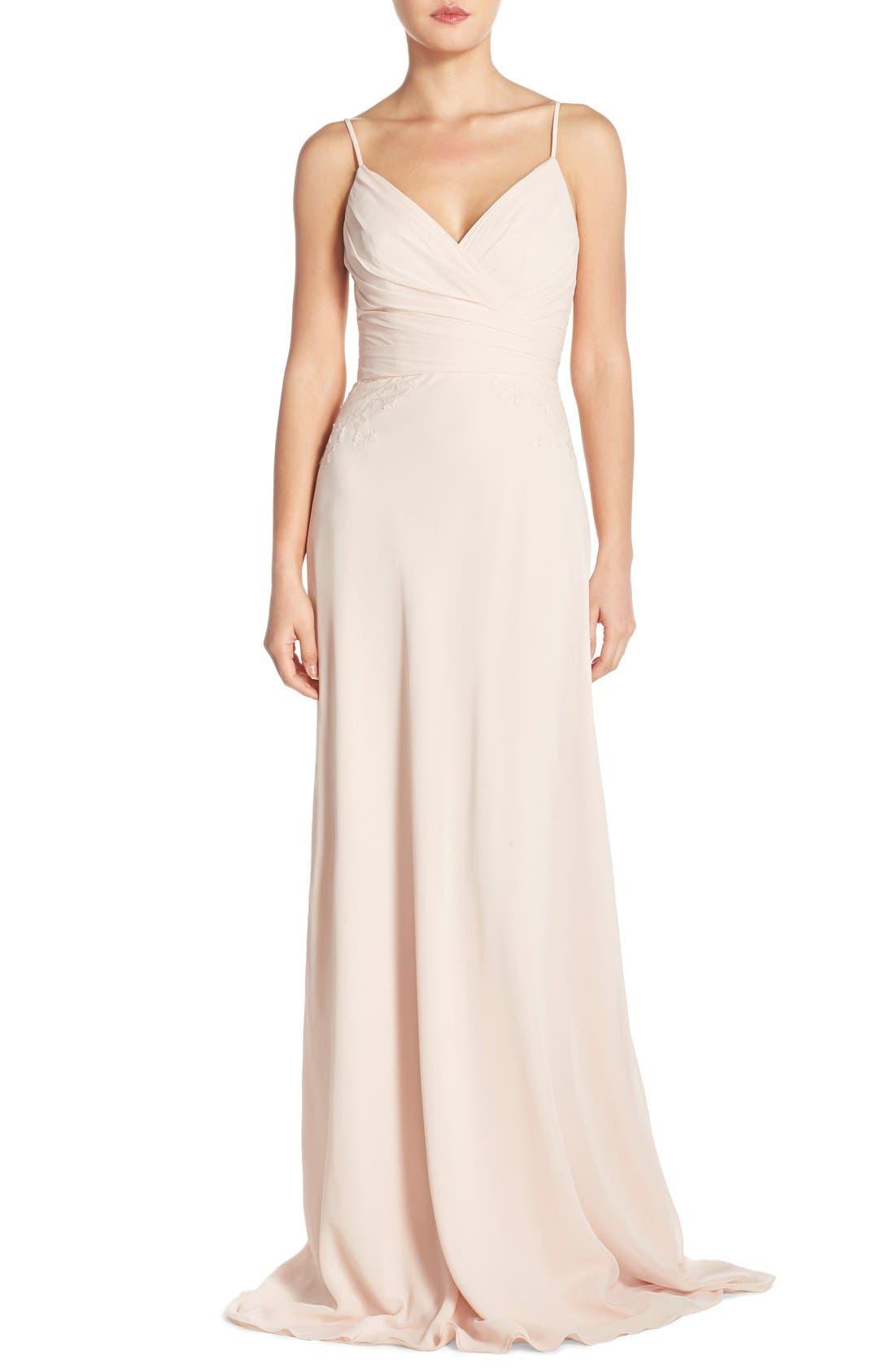 Main Image - Monique Lhuillier Bridesmaids Lace Trim Chiffon Surplice Gown