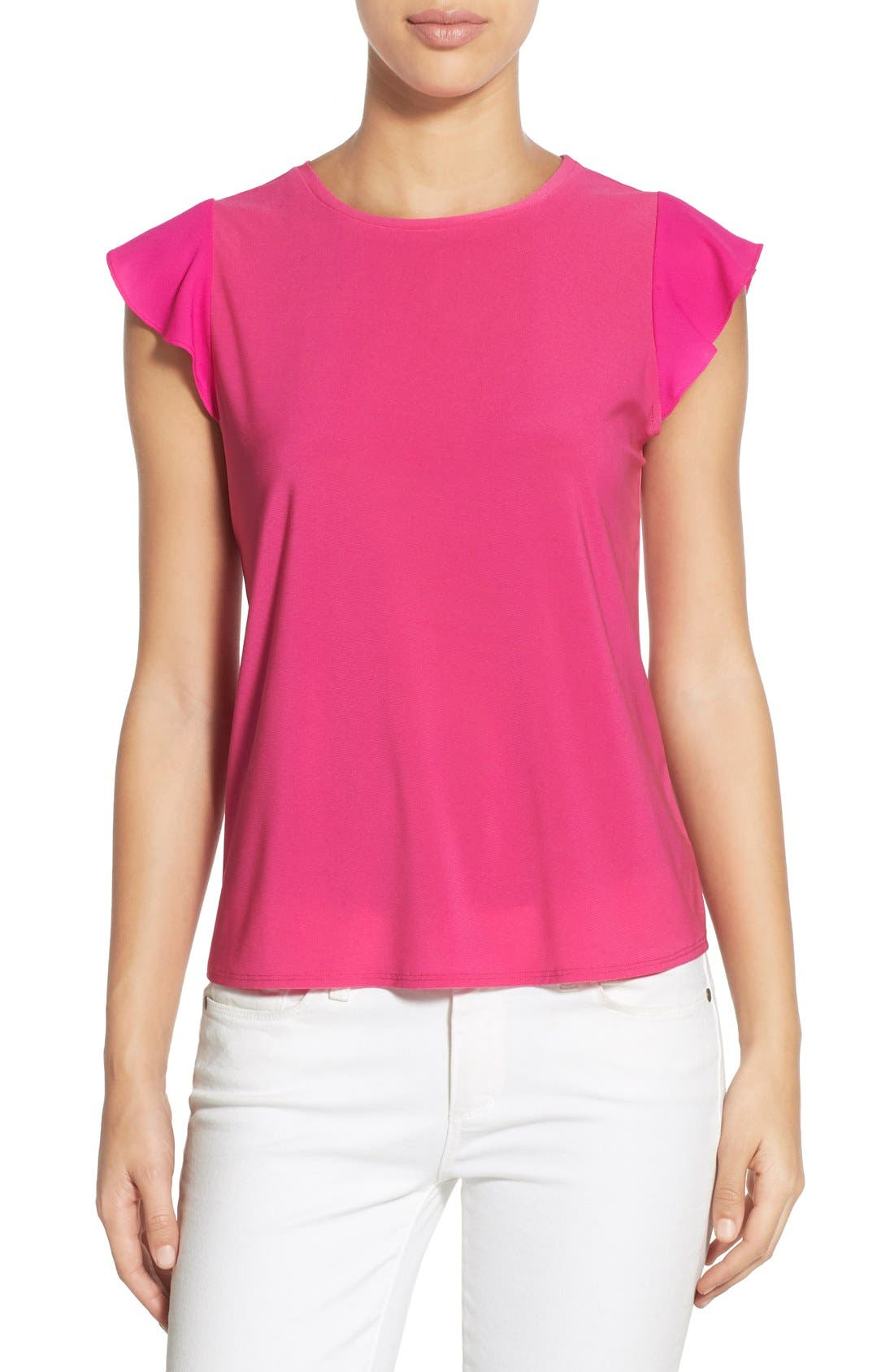 Alternate Image 1 Selected - CeCe by Cynthia Steffe Chiffon Flutter Sleeve Tee