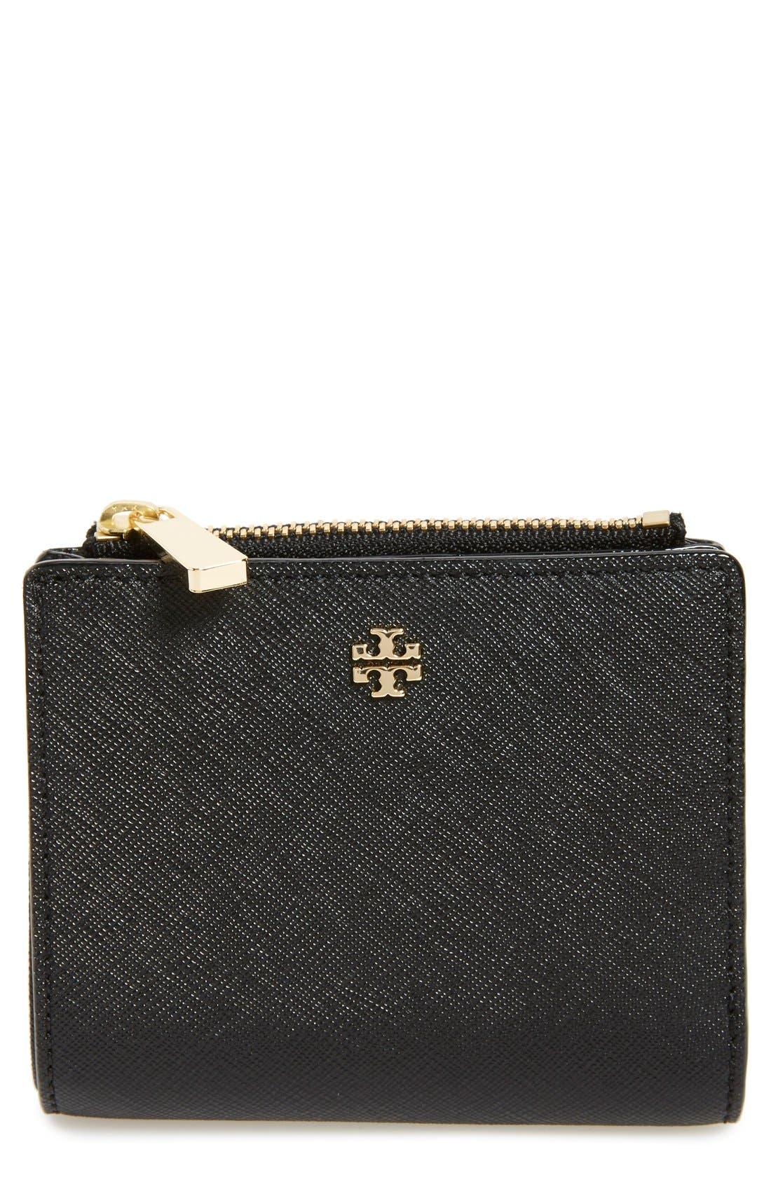 'Mini Robinson' Leather Wallet,                             Main thumbnail 1, color,                             Black