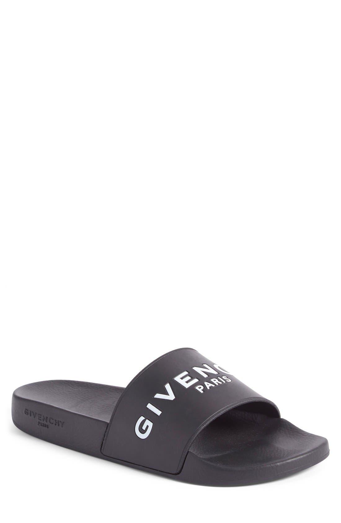 Slide Sandal,                             Main thumbnail 1, color,                             Black Leather