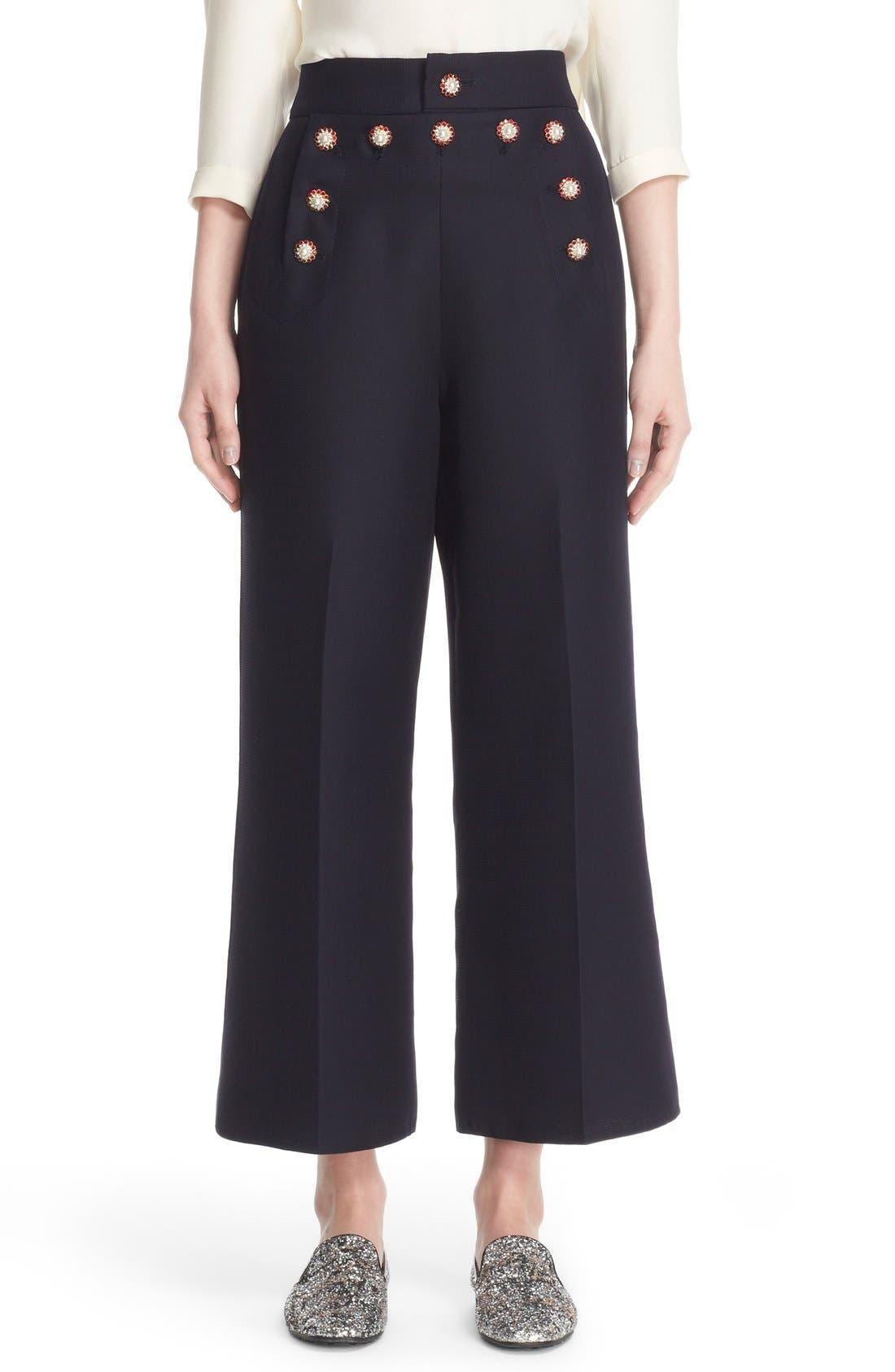 Main Image - MARC JACOBS Wool & Silk Crop Sailor Pants