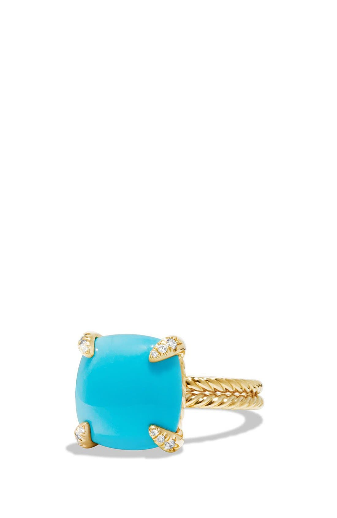 'Chatelaine' Ring with Diamonds,                         Main,                         color, Turquoise