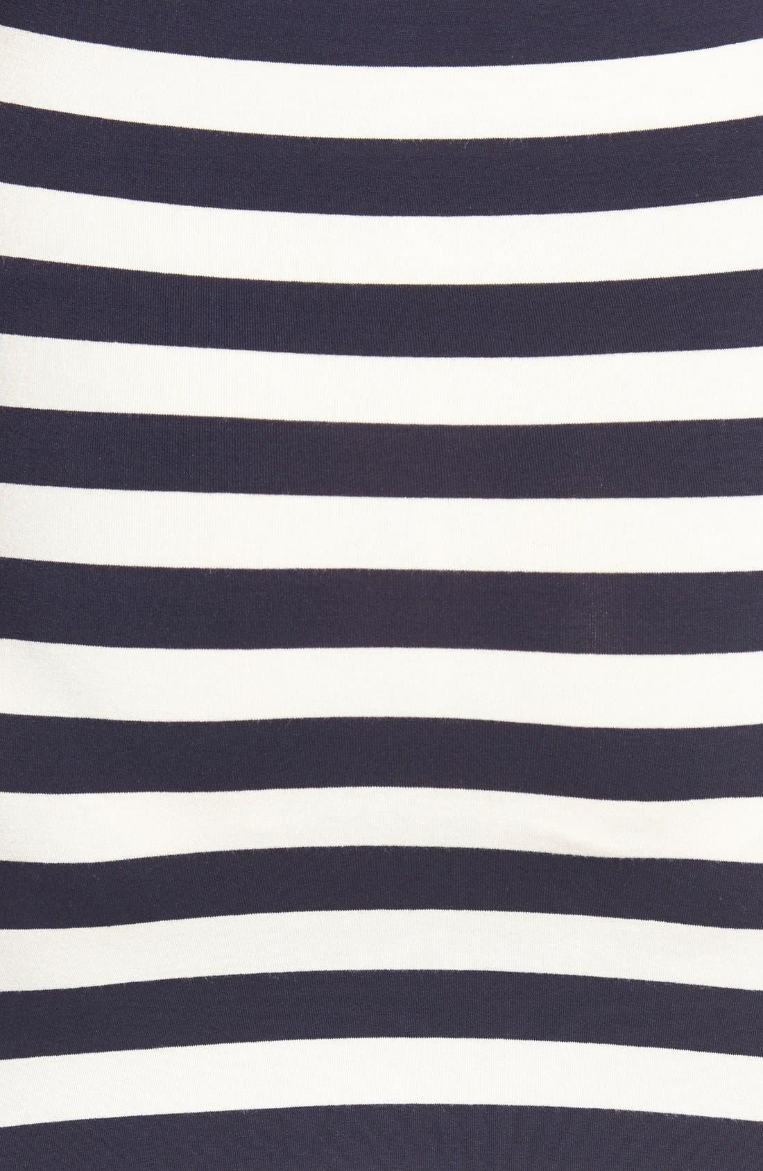 'Joy' Sleeveless Maternity/Nursing Midi Dress,                             Alternate thumbnail 5, color,                             Even Navy Stripe