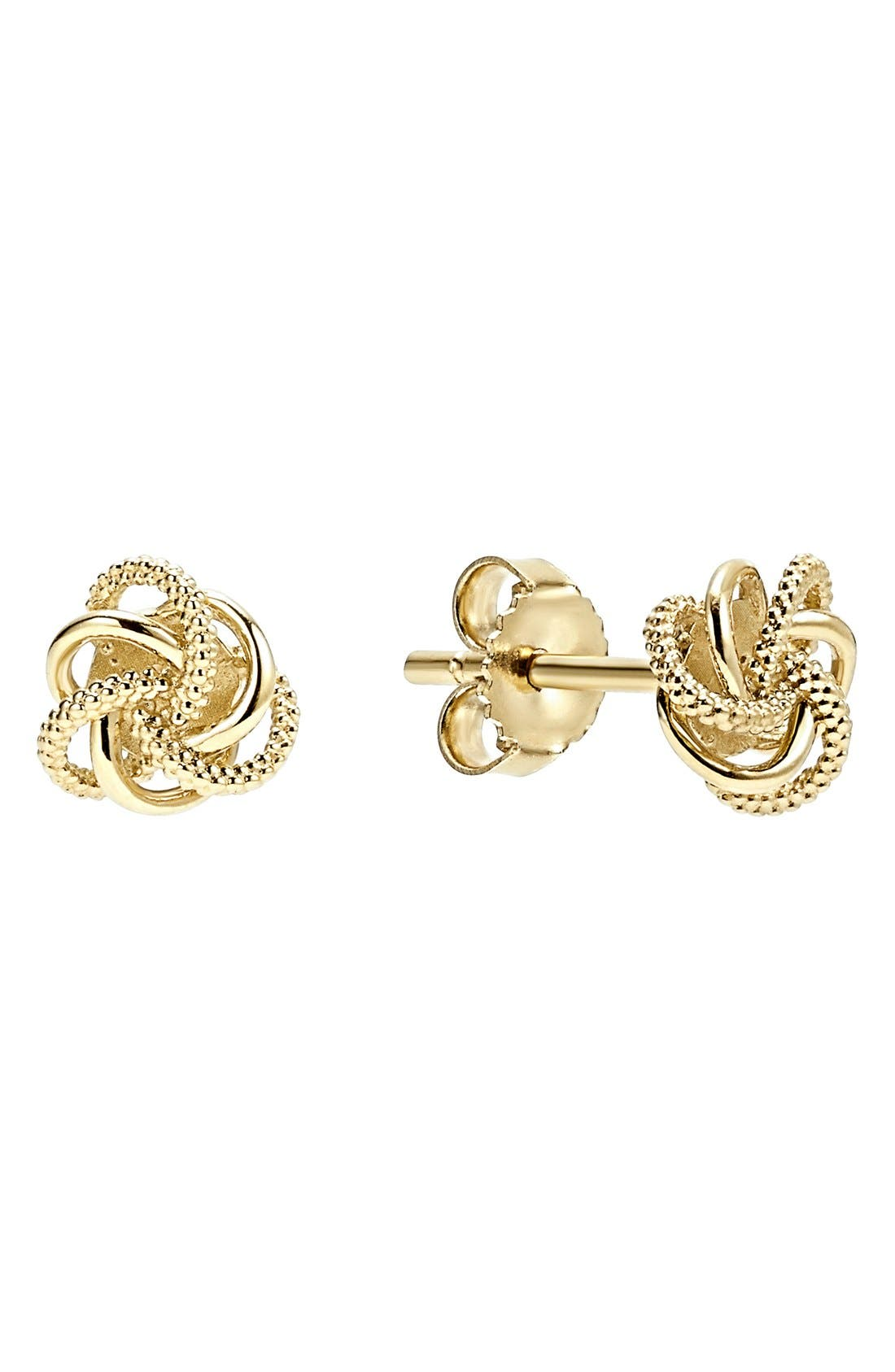 'Love Knot' Stud Earrings,                             Main thumbnail 1, color,                             Gold