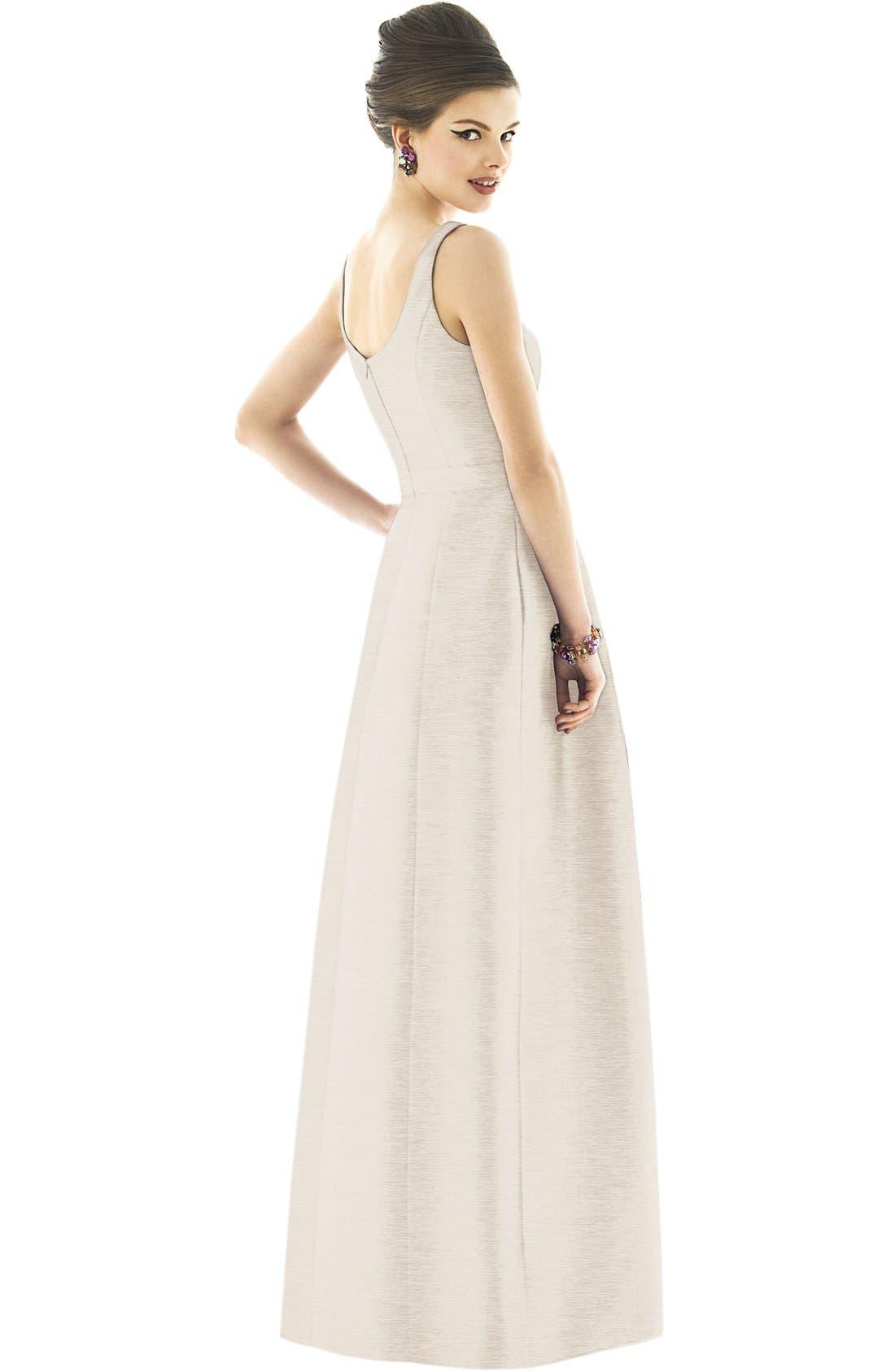 Alternate Image 2  - Alfred Sung Scoop Neck Dupioni Full Length Dress