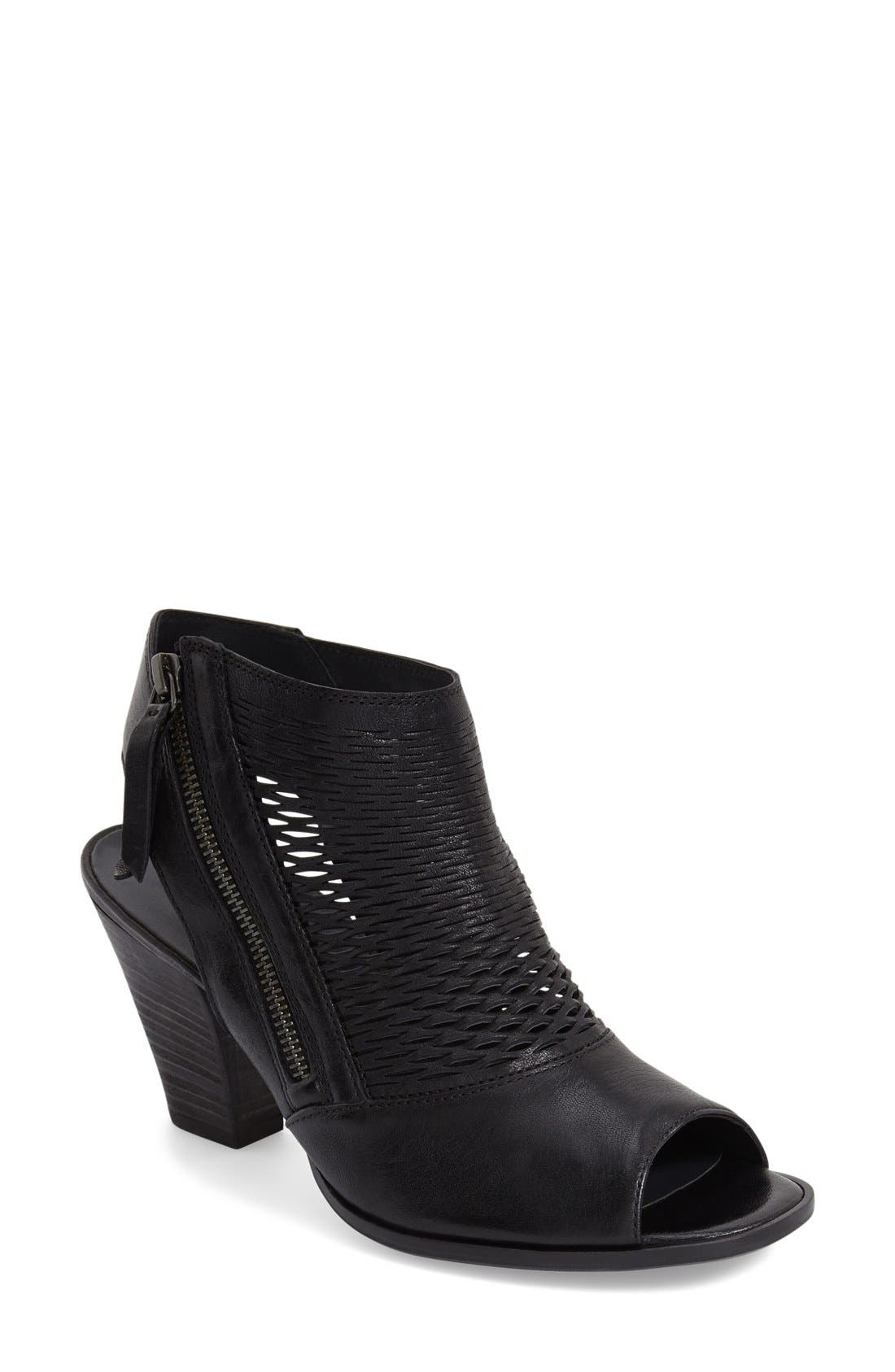 'Willow' Peep Toe Sandal,                             Main thumbnail 1, color,                             Black Leather