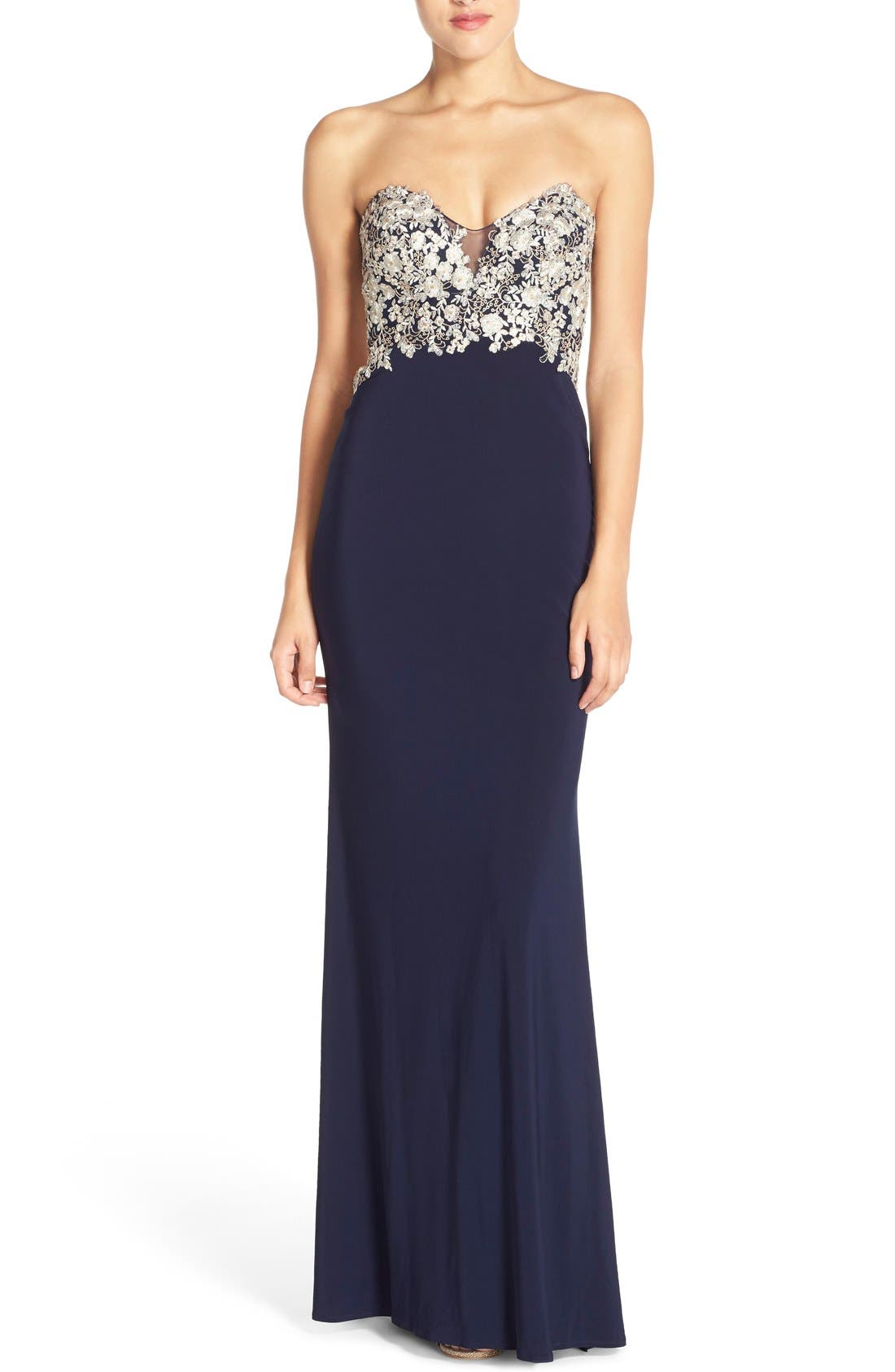 Alternate Image 1 Selected - Faviana Embroidered Strapless Jersey Gown