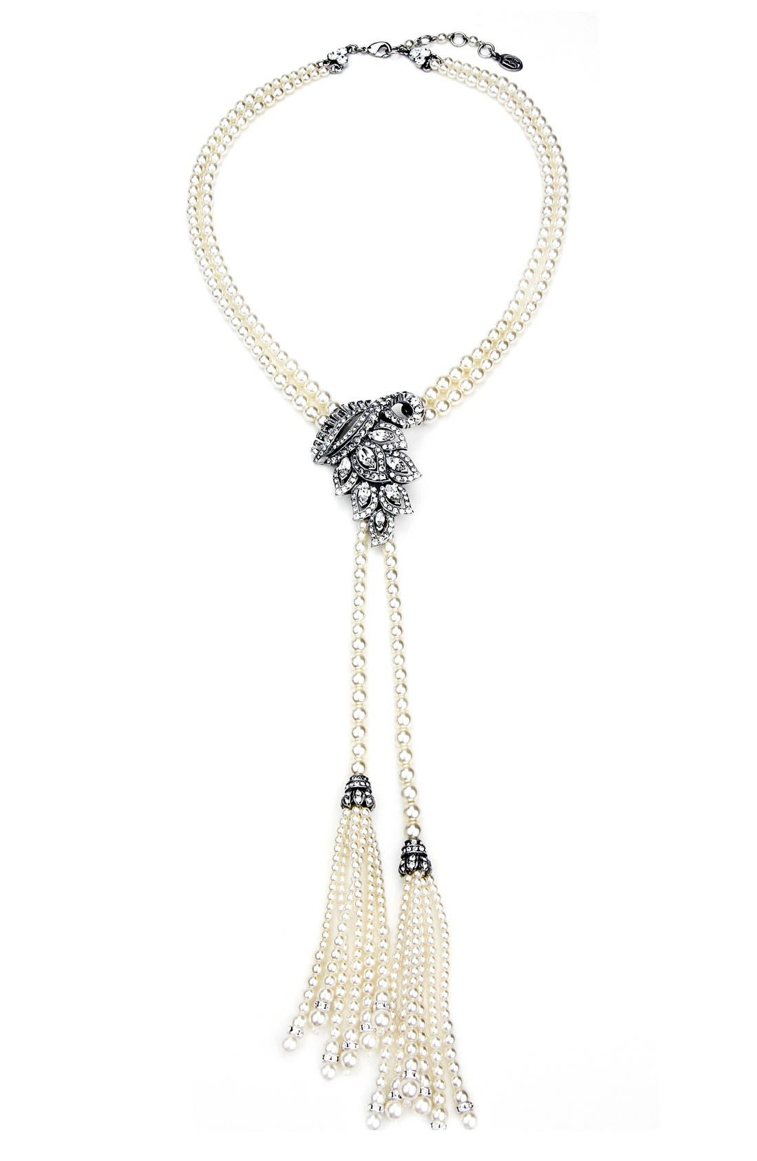 Faux Pearl and Crystal Tassel Necklace,                         Main,                         color, Ivory