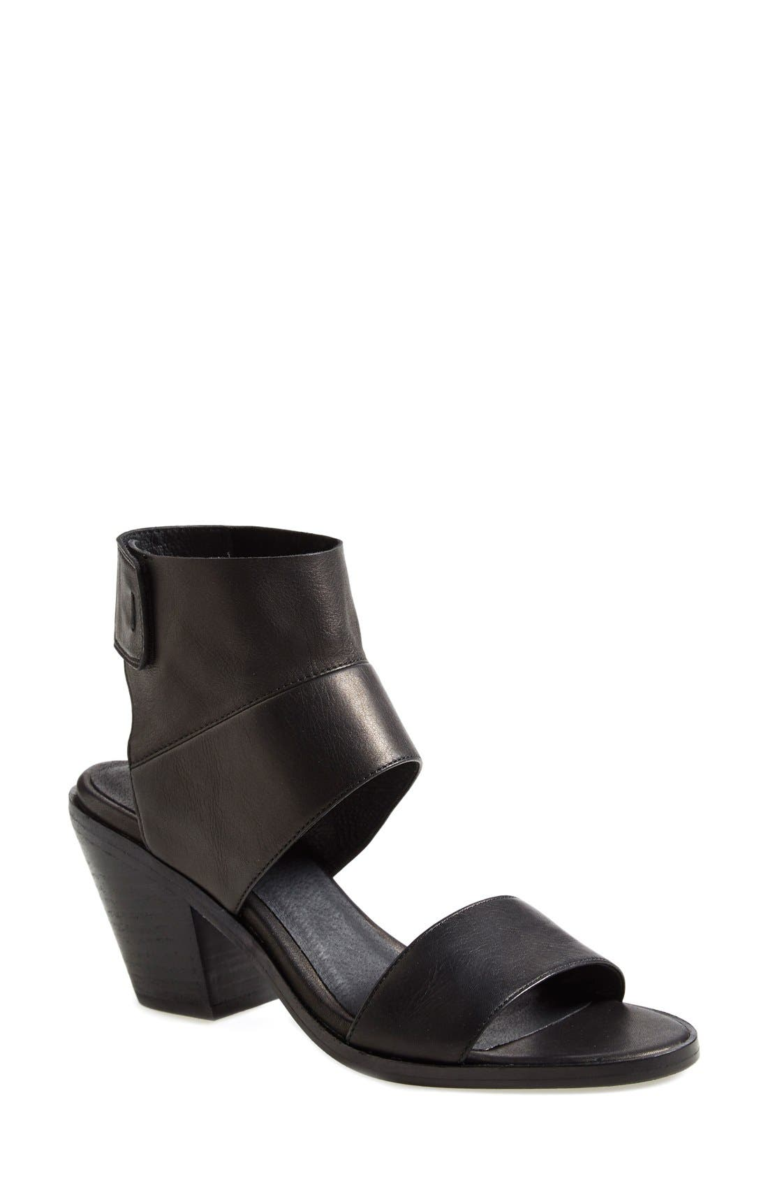 'Art' Tumbled Leather Ankle Cuff Sandal,                         Main,                         color, Black