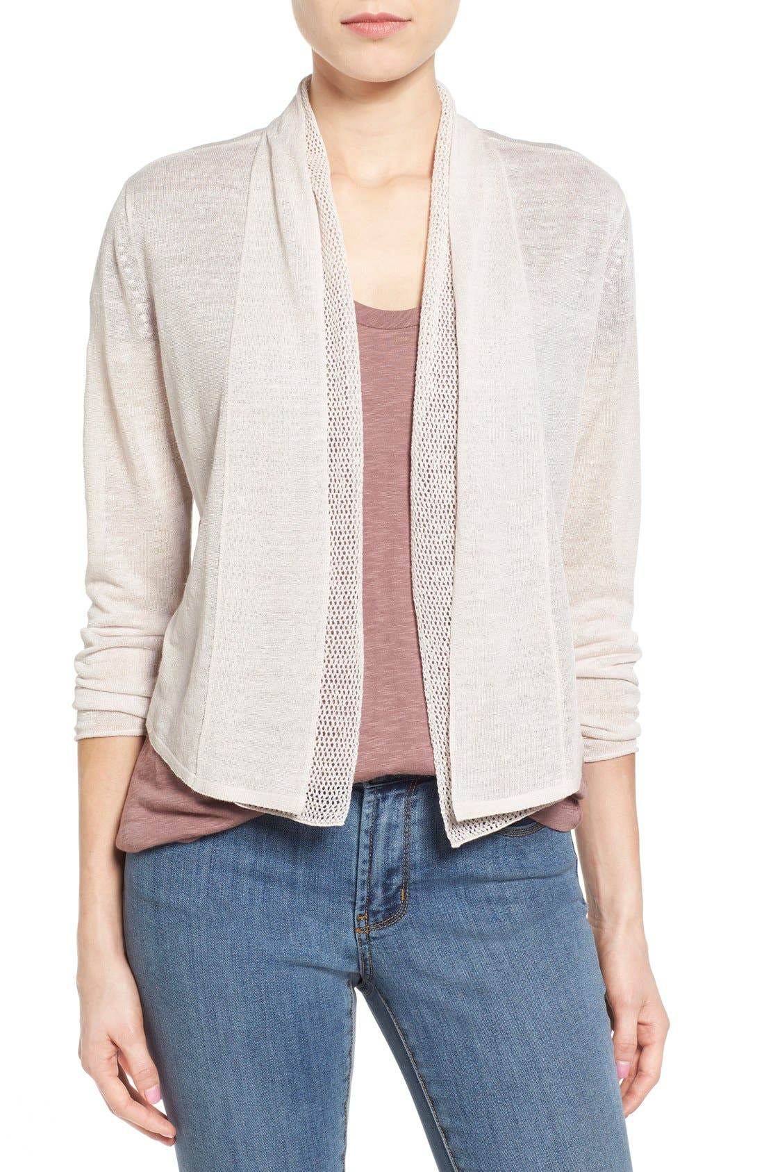 'Simply Sweet' Open Front Cardigan,                             Main thumbnail 1, color,                             Pink Pearl
