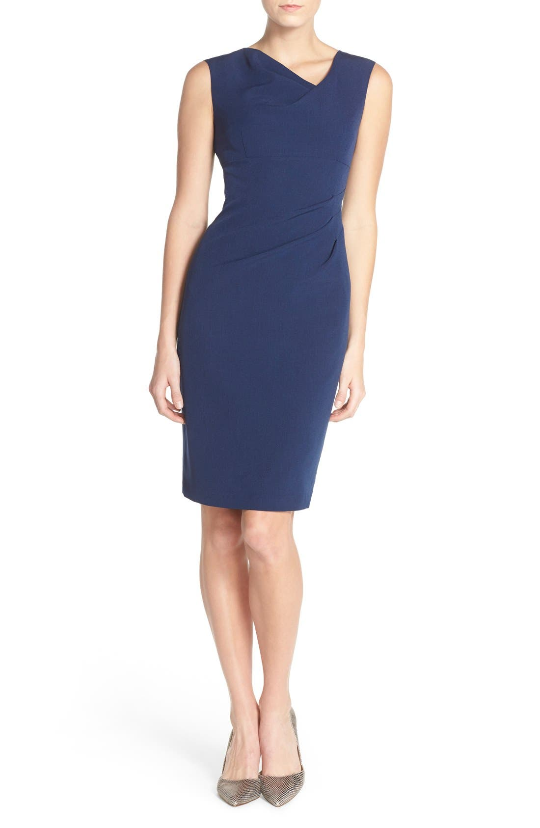 Drape Neck Crepe Sheath Dress,                             Alternate thumbnail 4, color,                             Dusk