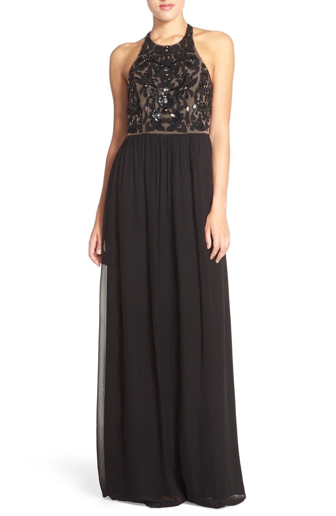 Main Image - Parker 'Cassey' Embellished Bodice Halter Style Gown