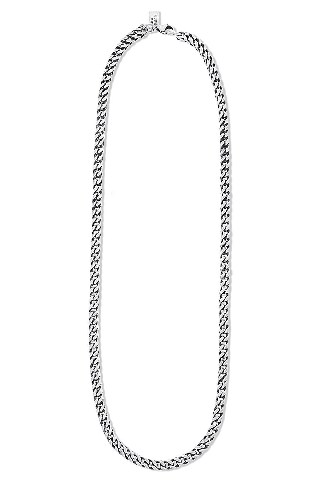 'Classic' Franco Chain Necklace,                             Main thumbnail 1, color,                             Burnished Silver
