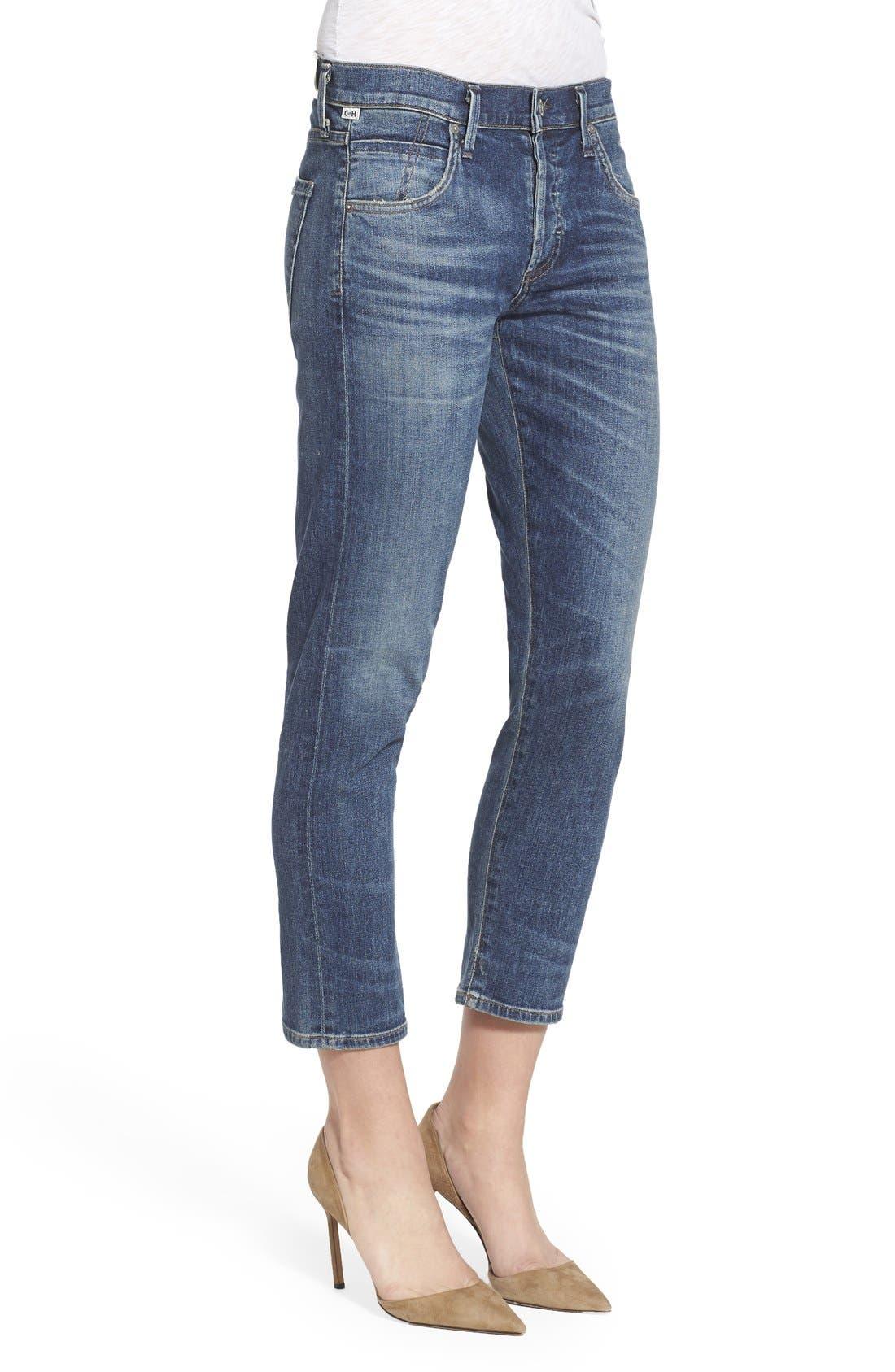 'Elsa' Crop Slim Jeans,                             Alternate thumbnail 3, color,                             Dossier