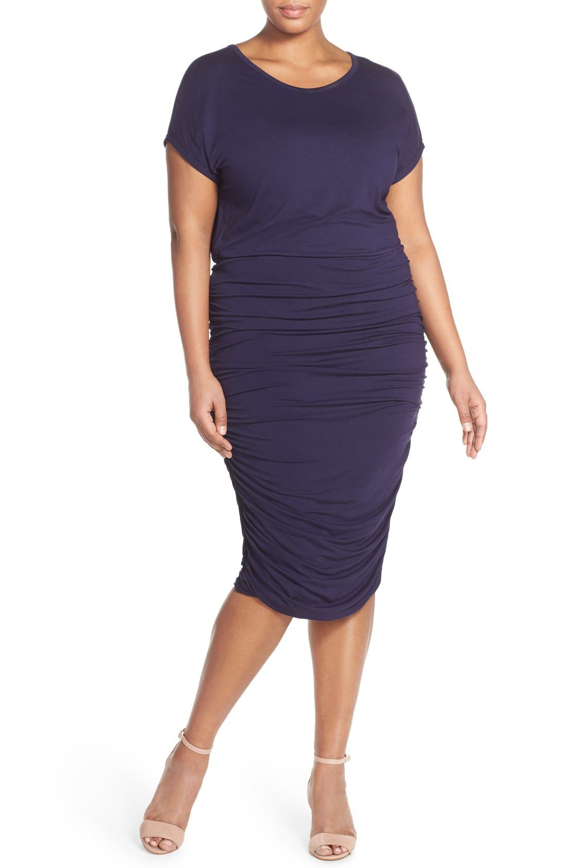 Side Ruched Jersey Midi Dress,                         Main,                         color, Evening Navy