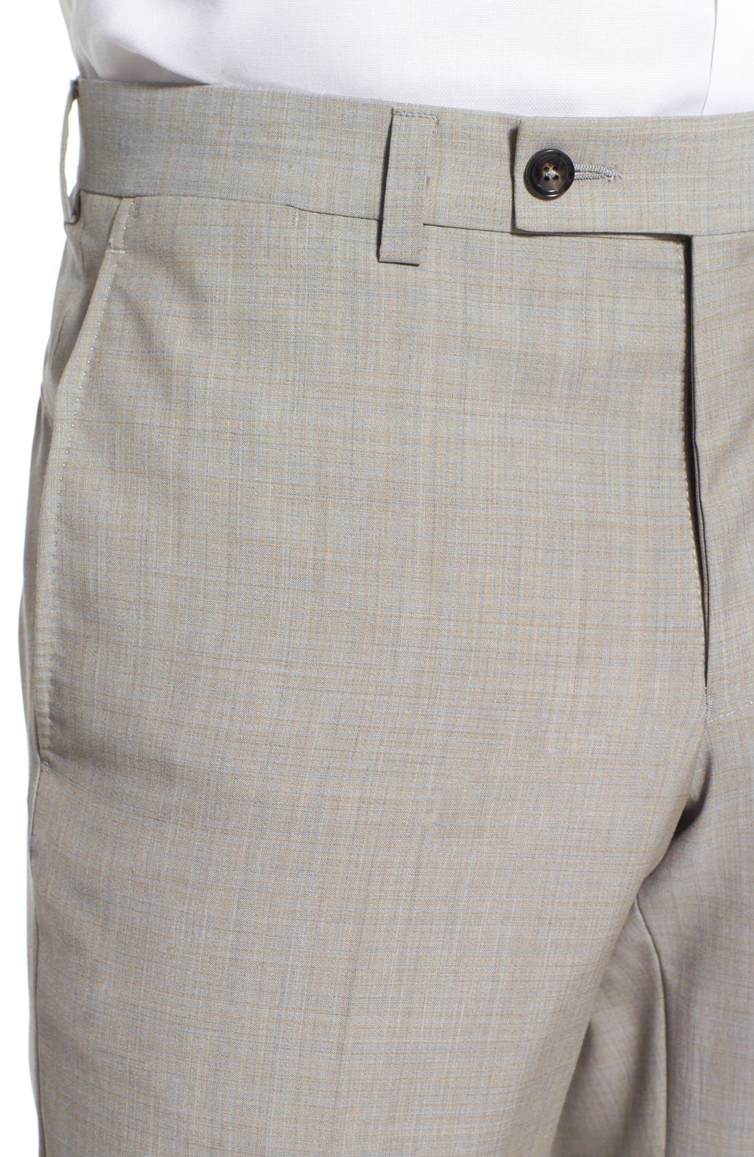 'Jefferson' Flat Front Solid Wool Trousers,                             Alternate thumbnail 5, color,                             Tan