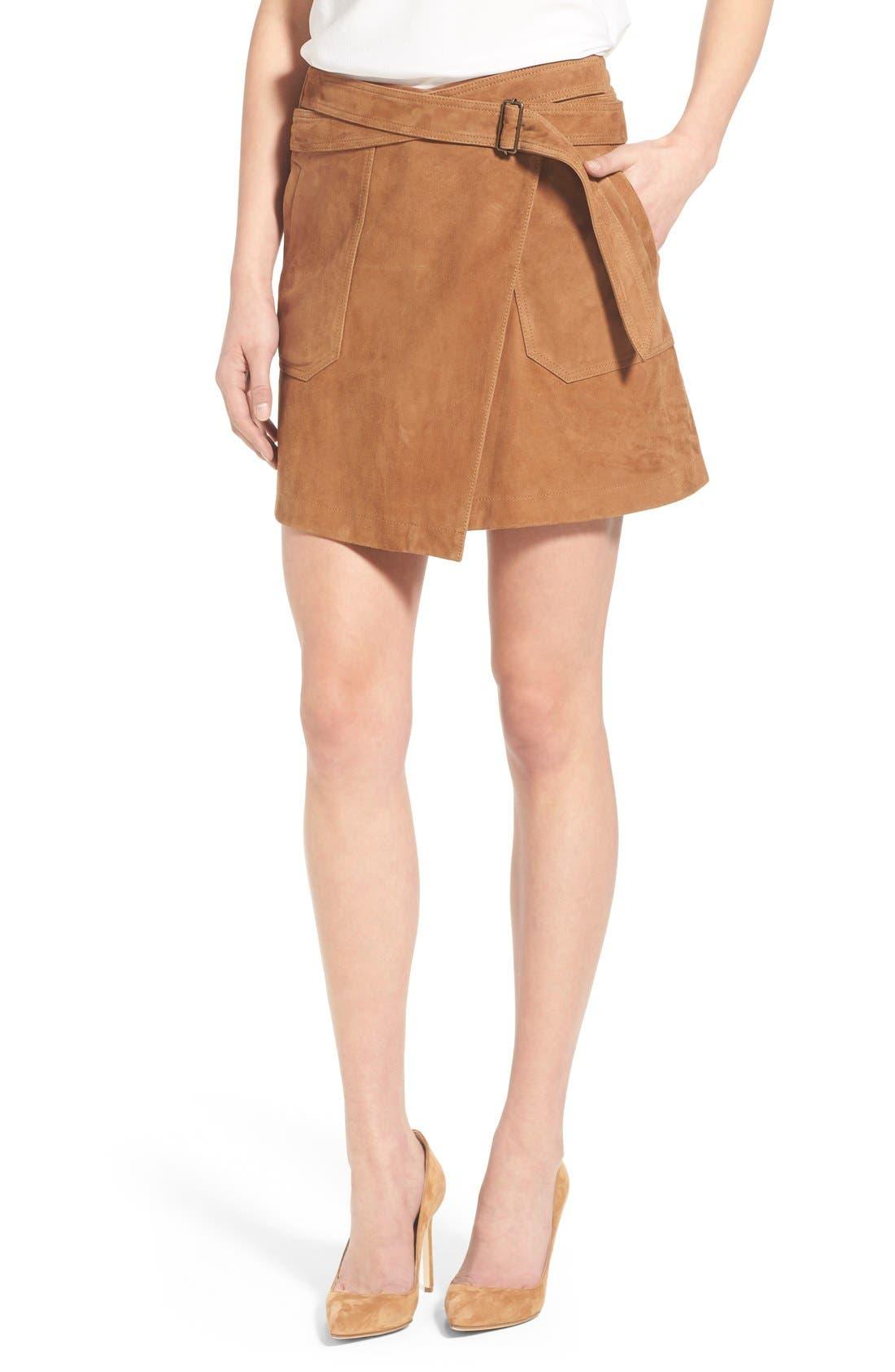 Suede Wrap Miniskirt,                         Main,                         color, Tan Cognac