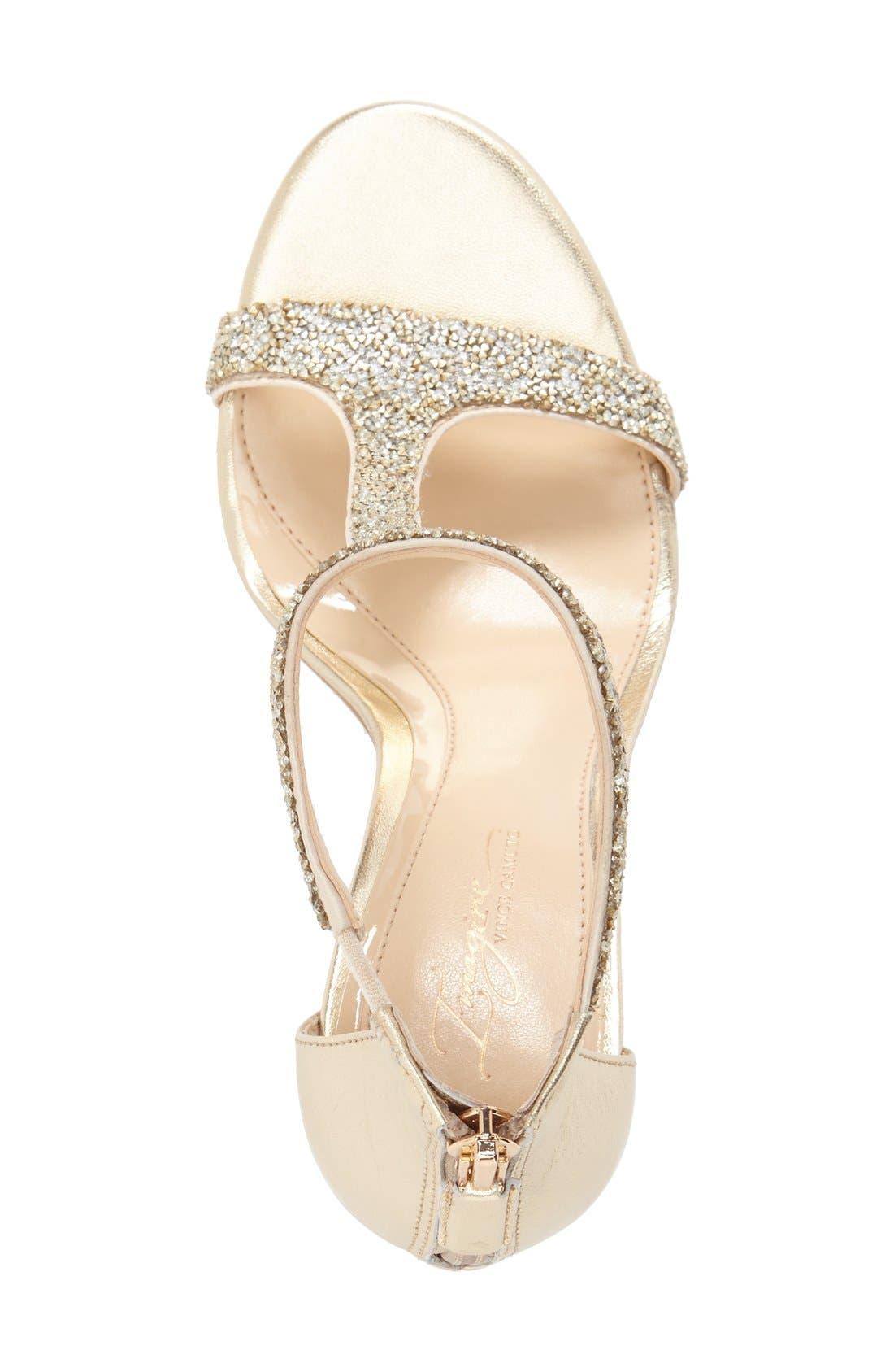 'Phoebe' Embellished T-Strap Sandal,                             Alternate thumbnail 3, color,                             Crystal/Gold Nappa