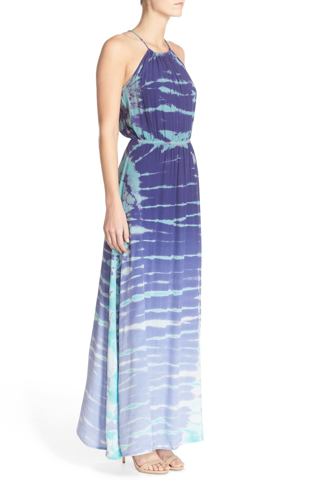 Tie Dye Crepe Maxi Dress,                             Alternate thumbnail 3, color,                             Navy Special