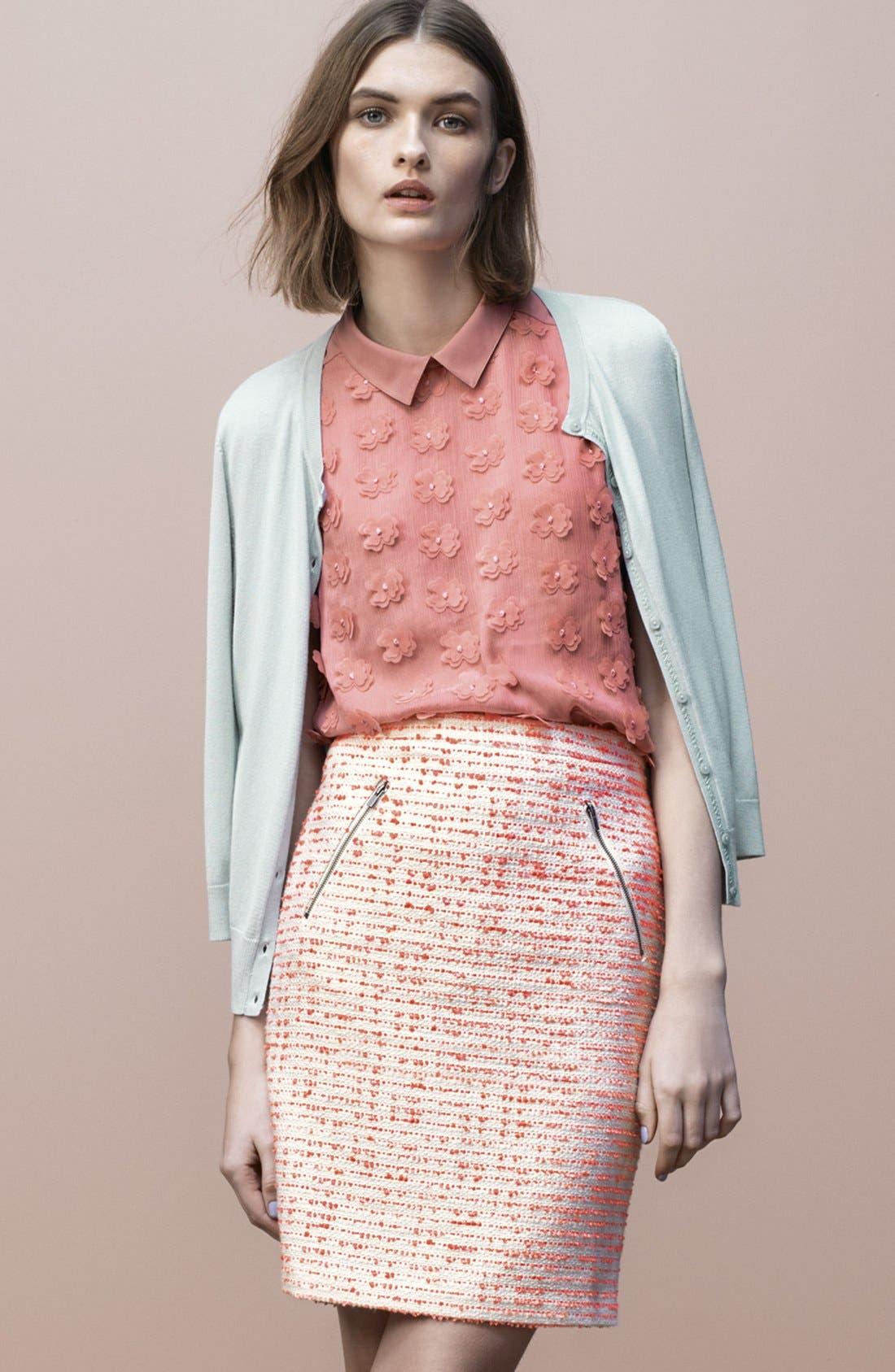Alternate Image 2  - Halogen® Zip Pocket Tweed Pencil Skirt