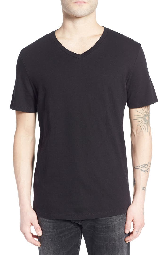 The rail slim fit v neck t shirt nordstrom V neck black t shirt
