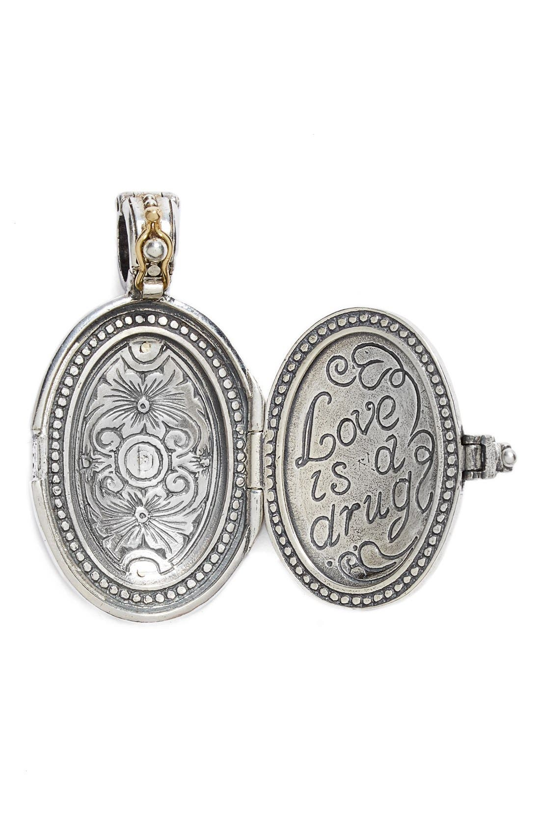 'Hebe' Etched Locket Pendant,                             Alternate thumbnail 2, color,                             Silver/ Gold