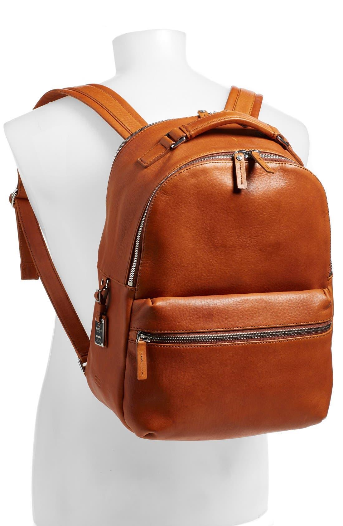 Runwell Leather Laptop Backpack,                             Alternate thumbnail 2, color,                             Bourbon