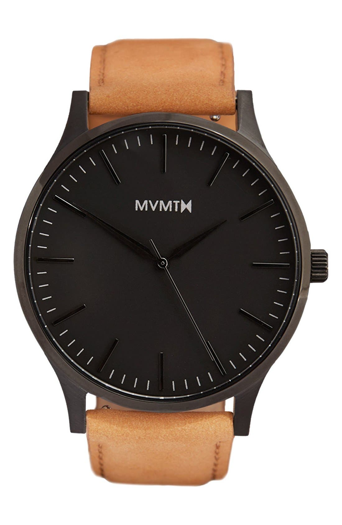 Leather Strap Watch, 40mm,                         Main,                         color, Tan/ Black