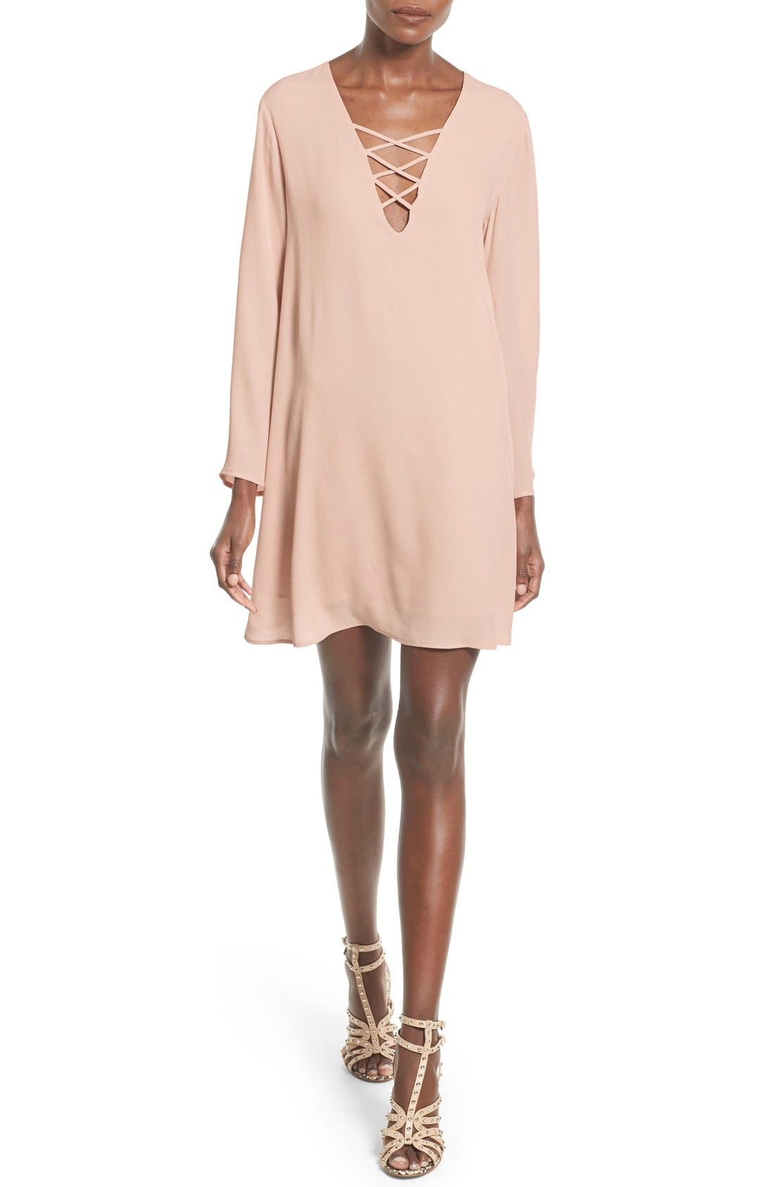 Main Image - ASTR Lace-Up Bell Sleeve Shift Dress