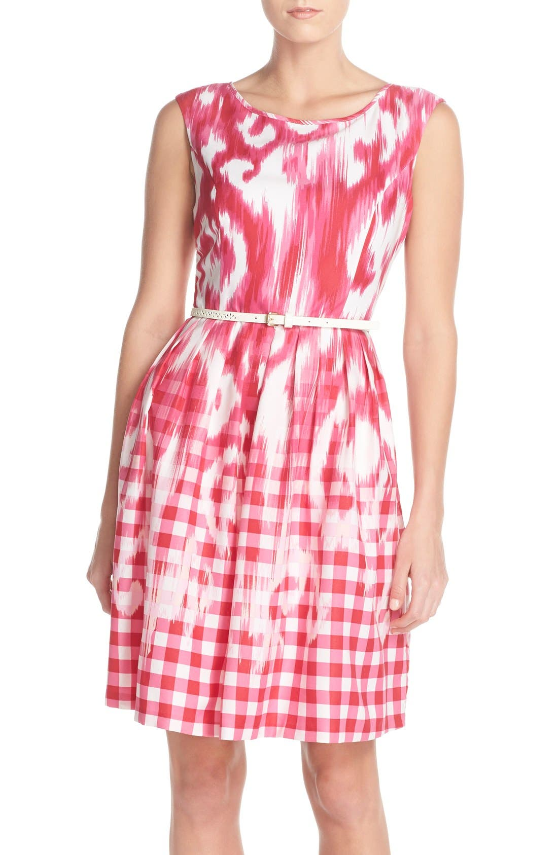Alternate Image 1 Selected - Ellen Tracy Belted Mixed Print Faille Fit & Flare Dress (Regular & Petite)
