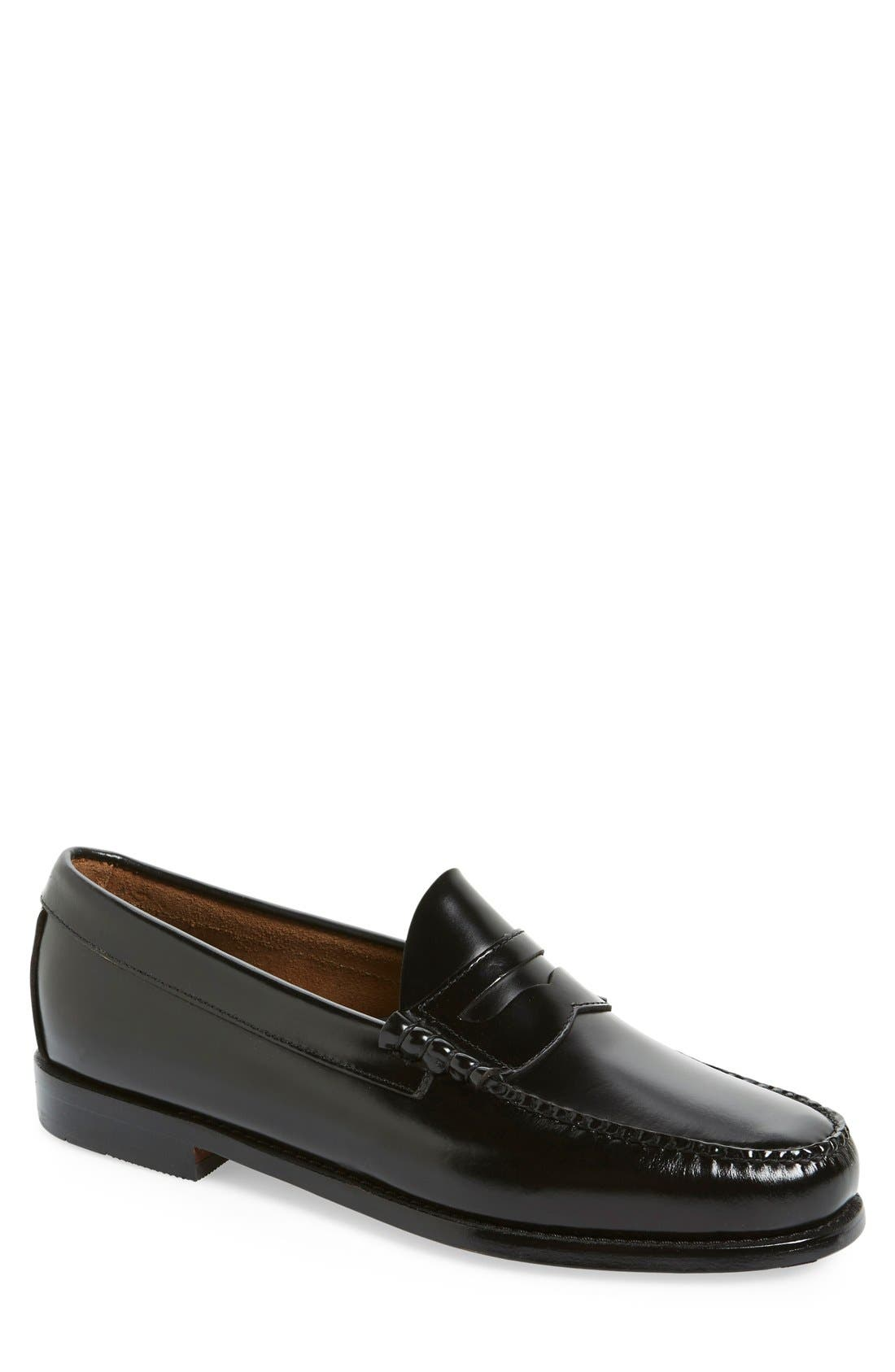 'Larson - Weejuns' Penny Loafer,                             Main thumbnail 1, color,                             Black Leather