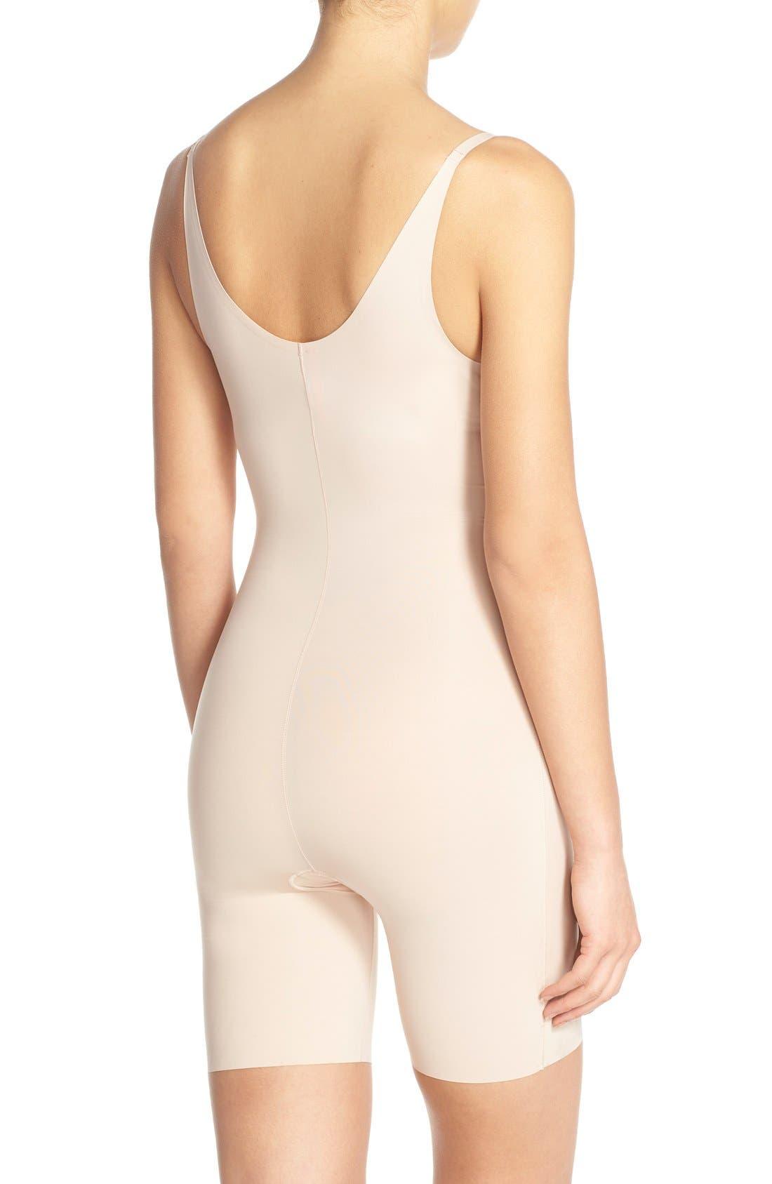 Alternate Image 2  - SPANX® Thinstincts Open Bust Mid Thigh Bodysuit