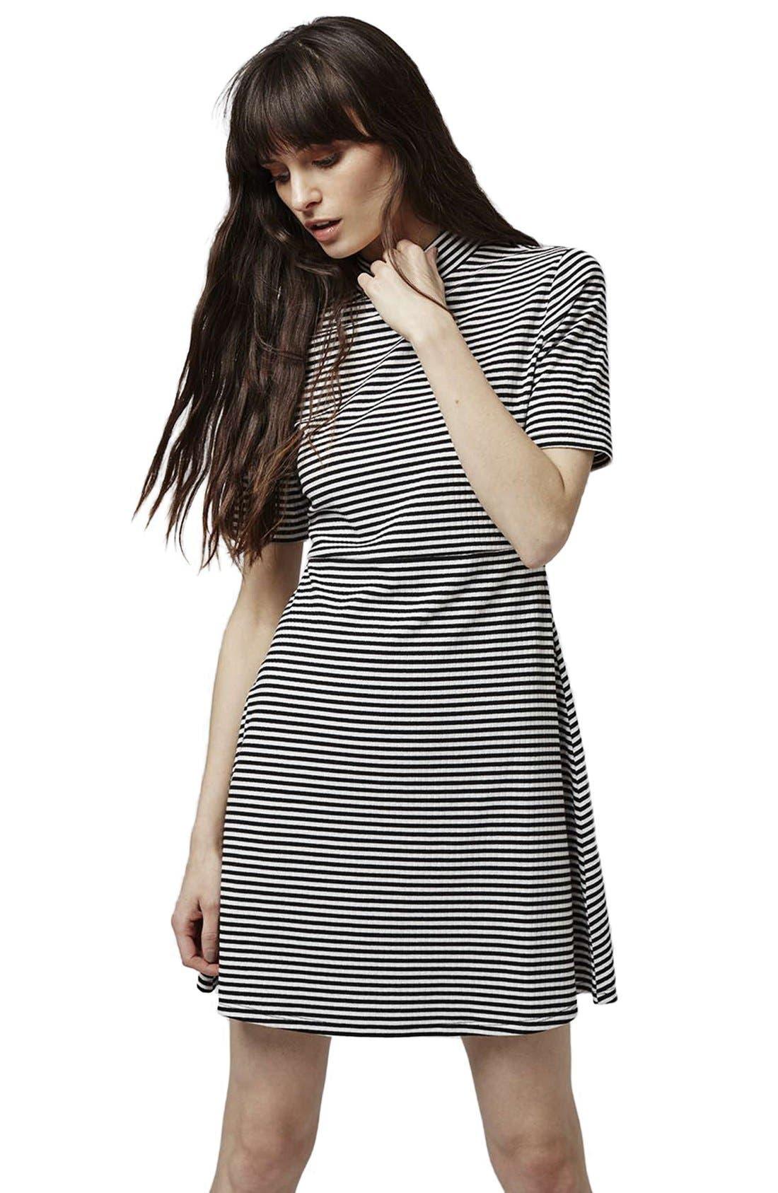 Alternate Image 6  - Topshop Stripe Flippy Dress (Petite)