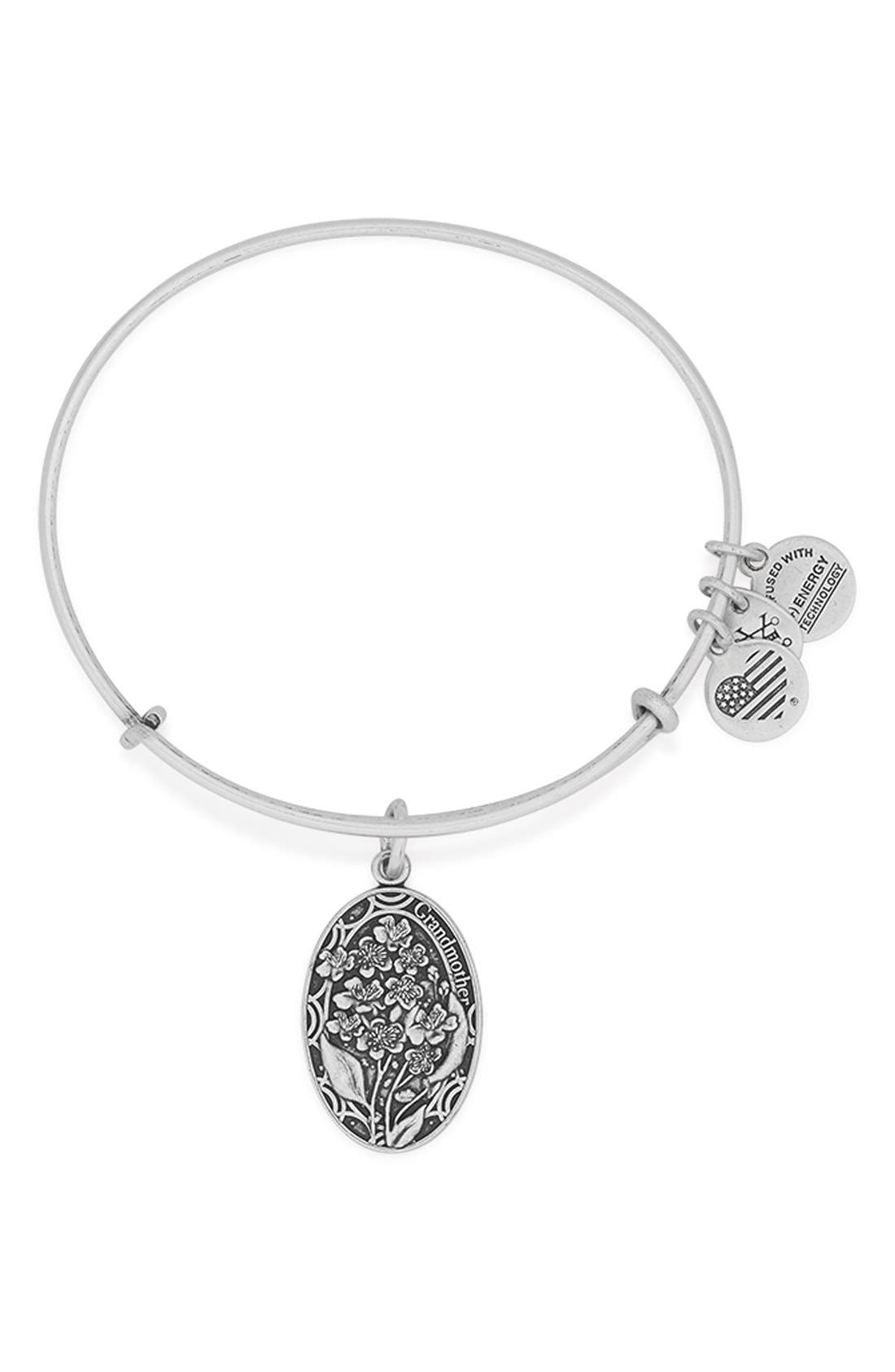 'I Love You Grandmother' Expandable Wire Bangle,                         Main,                         color, Silver