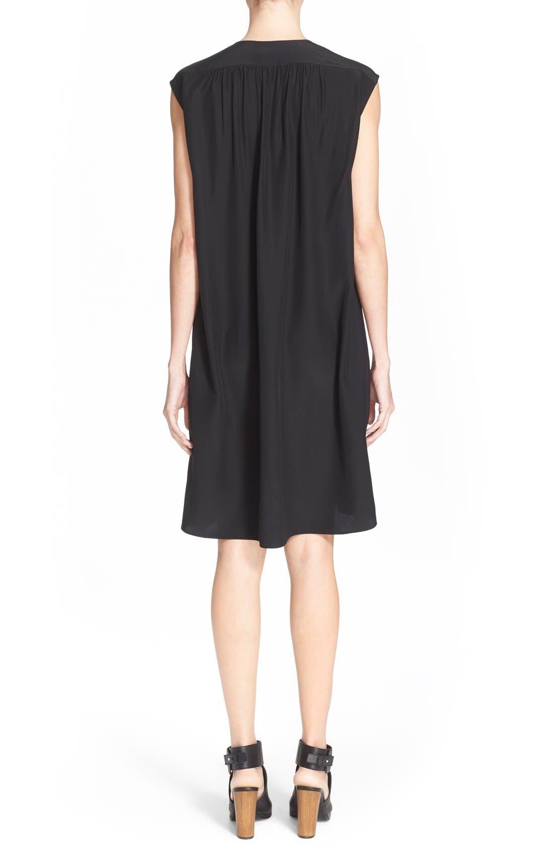 Alternate Image 2  - Vince Smocked Cap Sleeve Silk Shift Dress