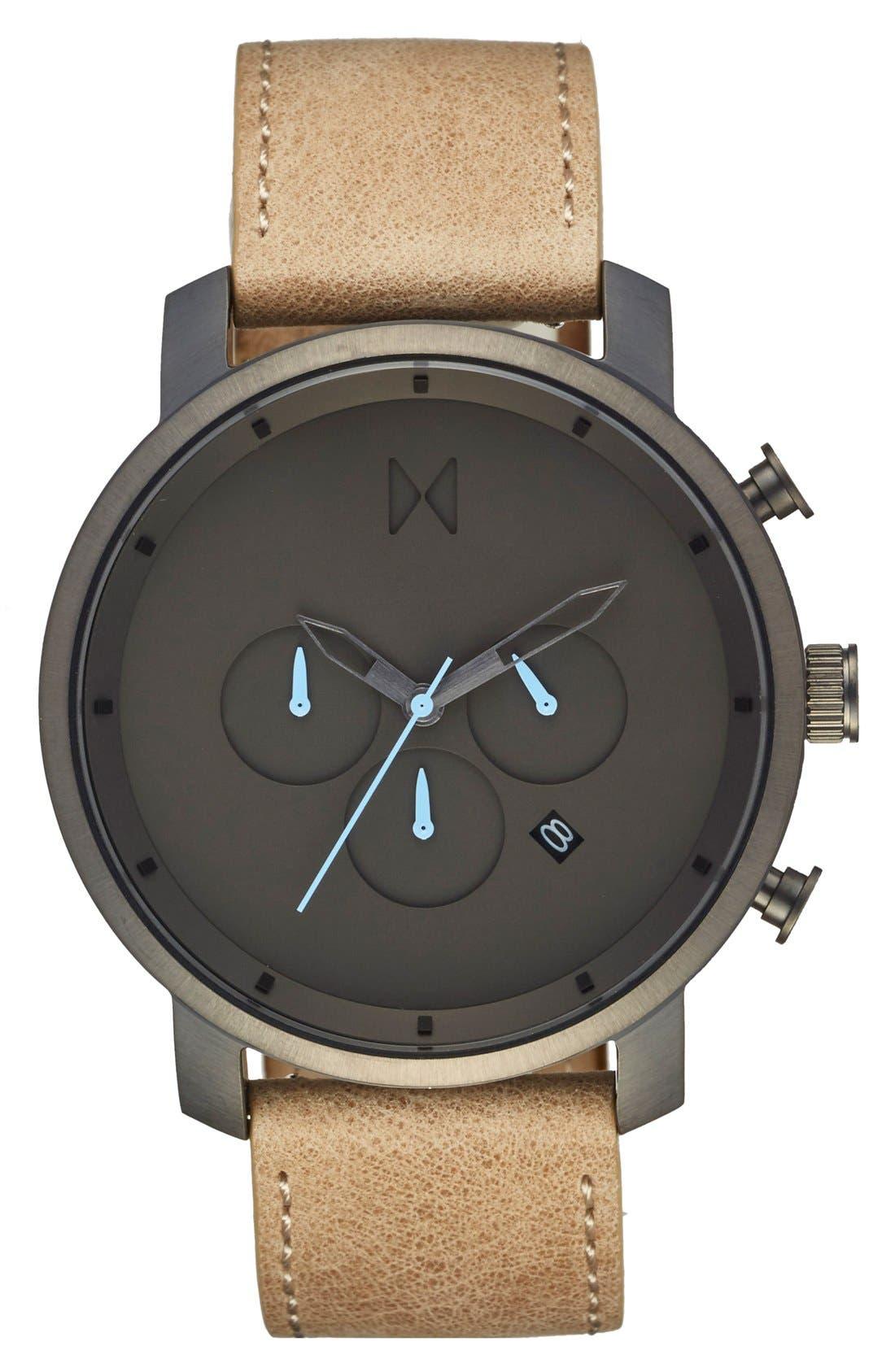 Chronograph Leather Strap Watch, 45mm,                         Main,                         color, Sandstone/ Gunmetal