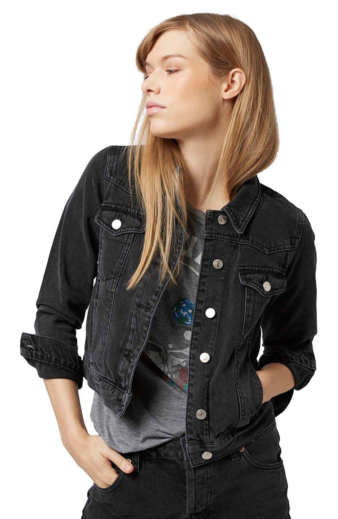 Alternate Image 4  - Topshop Moto 'Tilda' Washed Denim Jacket (Black)