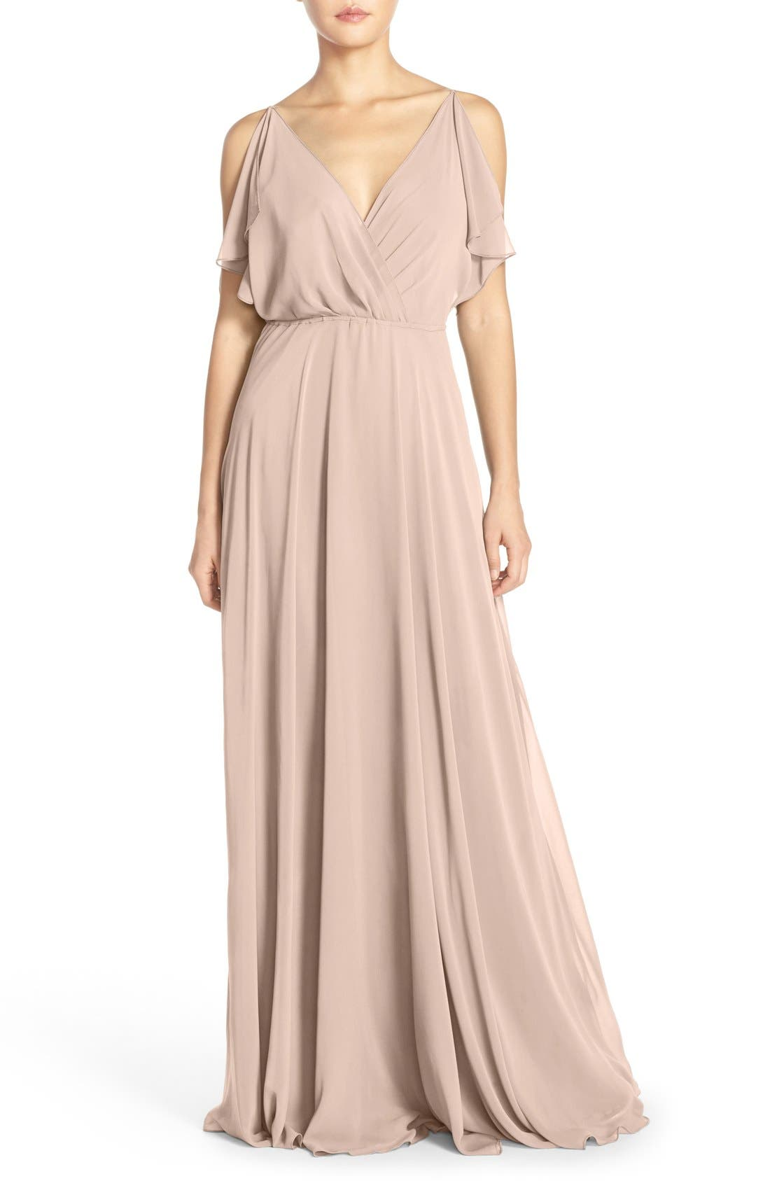 Jenny Yoo Cassie Flutter Sleeve Chiffon A-Line Gown