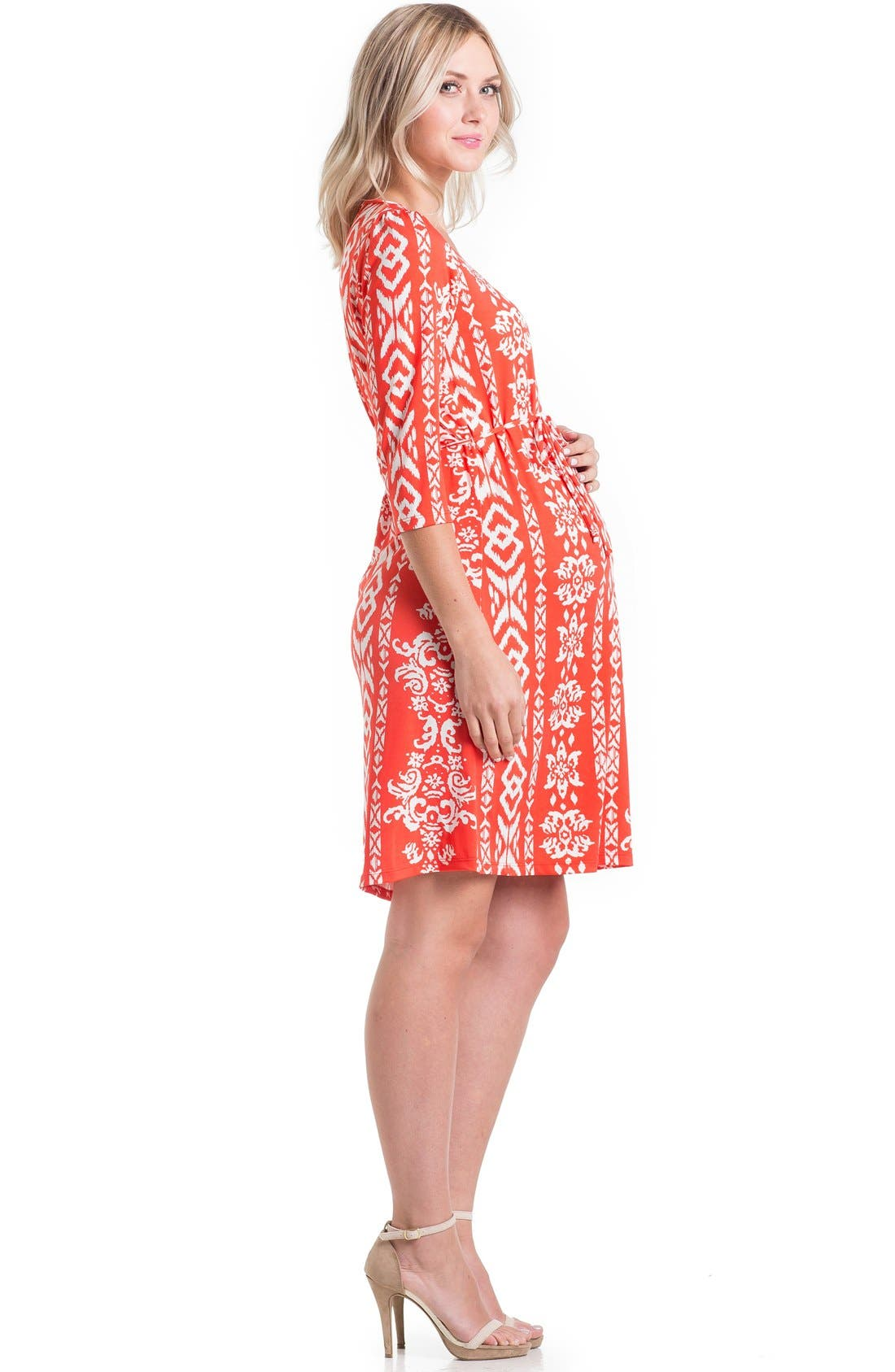 Print Maternity Dress,                             Alternate thumbnail 3, color,                             Tomato Ikat