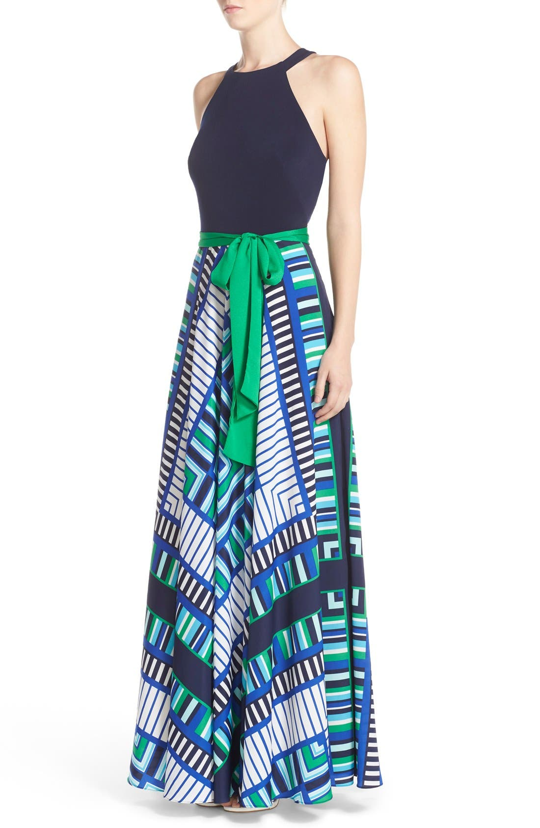 Alternate Image 3  - Eliza J Scarf Print Jersey & Crêpe de Chine Maxi Dress (Regular & Petite)